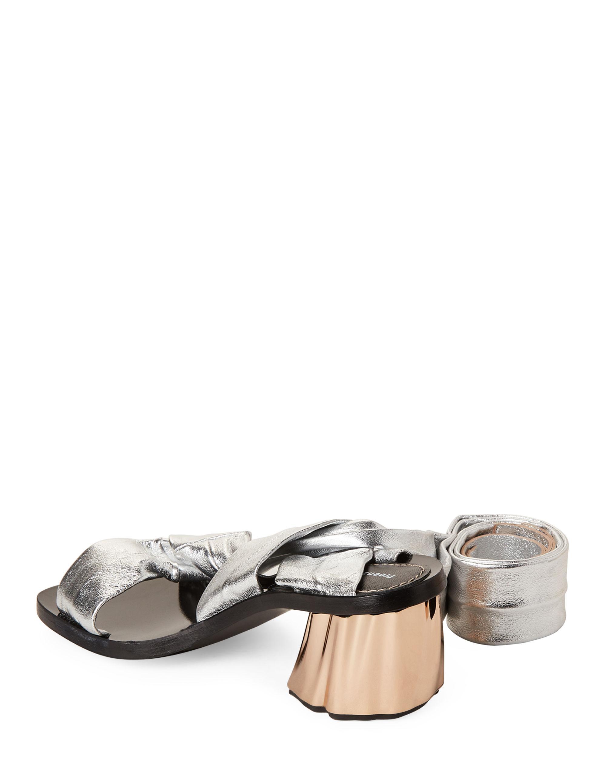 5ea437d481f Lyst - Proenza Schouler Silver Metallic Leather Ankle-wrap Sandals ...