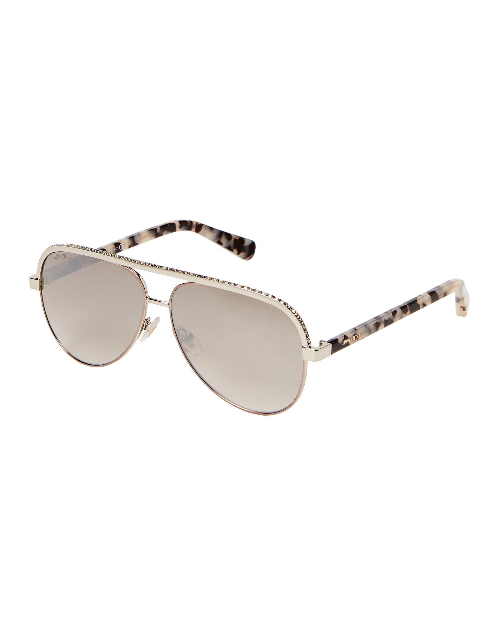 128d1880819 Lyst - Jimmy Choo Lina s Rhinestone Brow Aviator Sunglasses