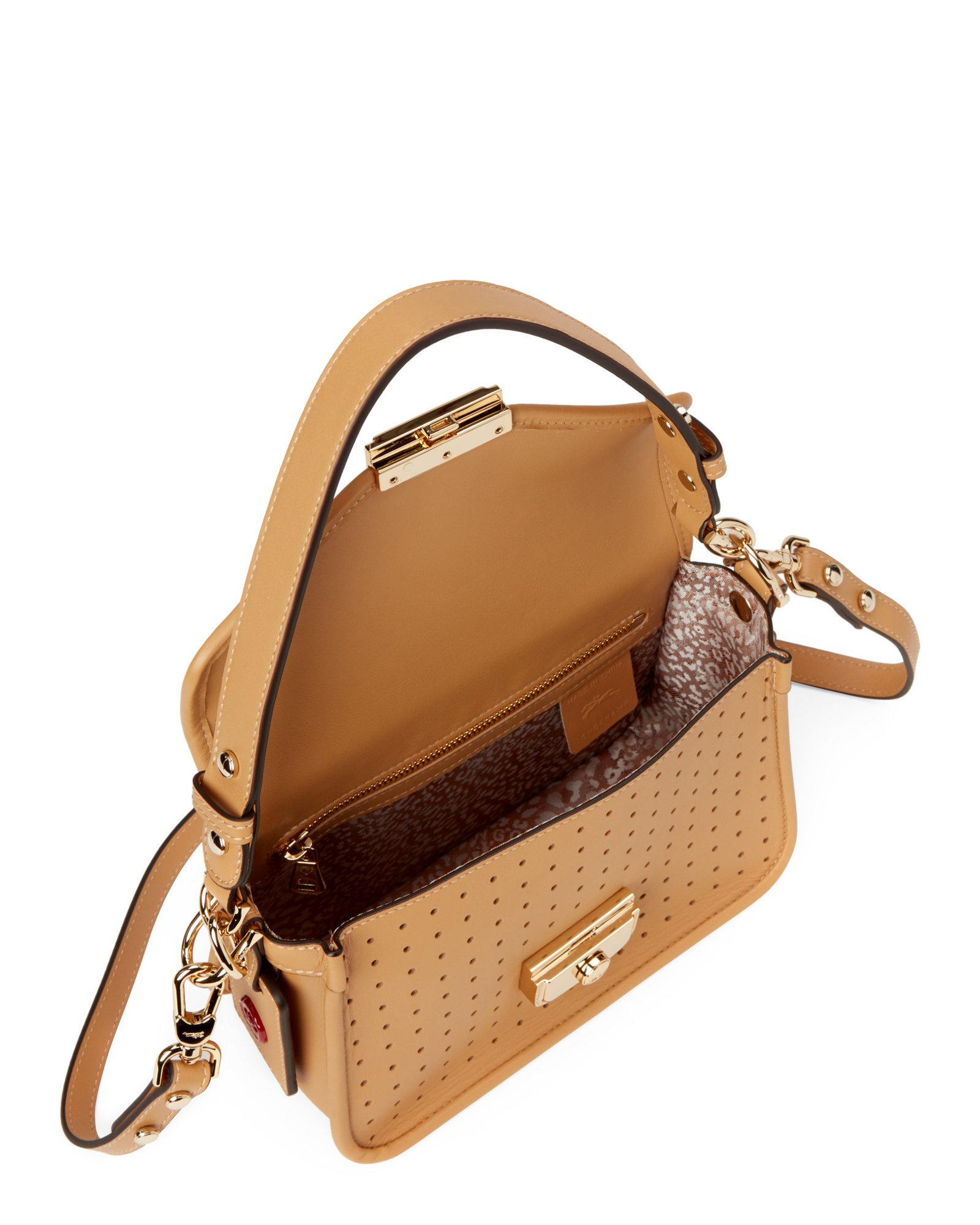 c62ced4b9548 Longchamp Light Brown Mademoiselle Perforated Crossbody in Brown - Lyst