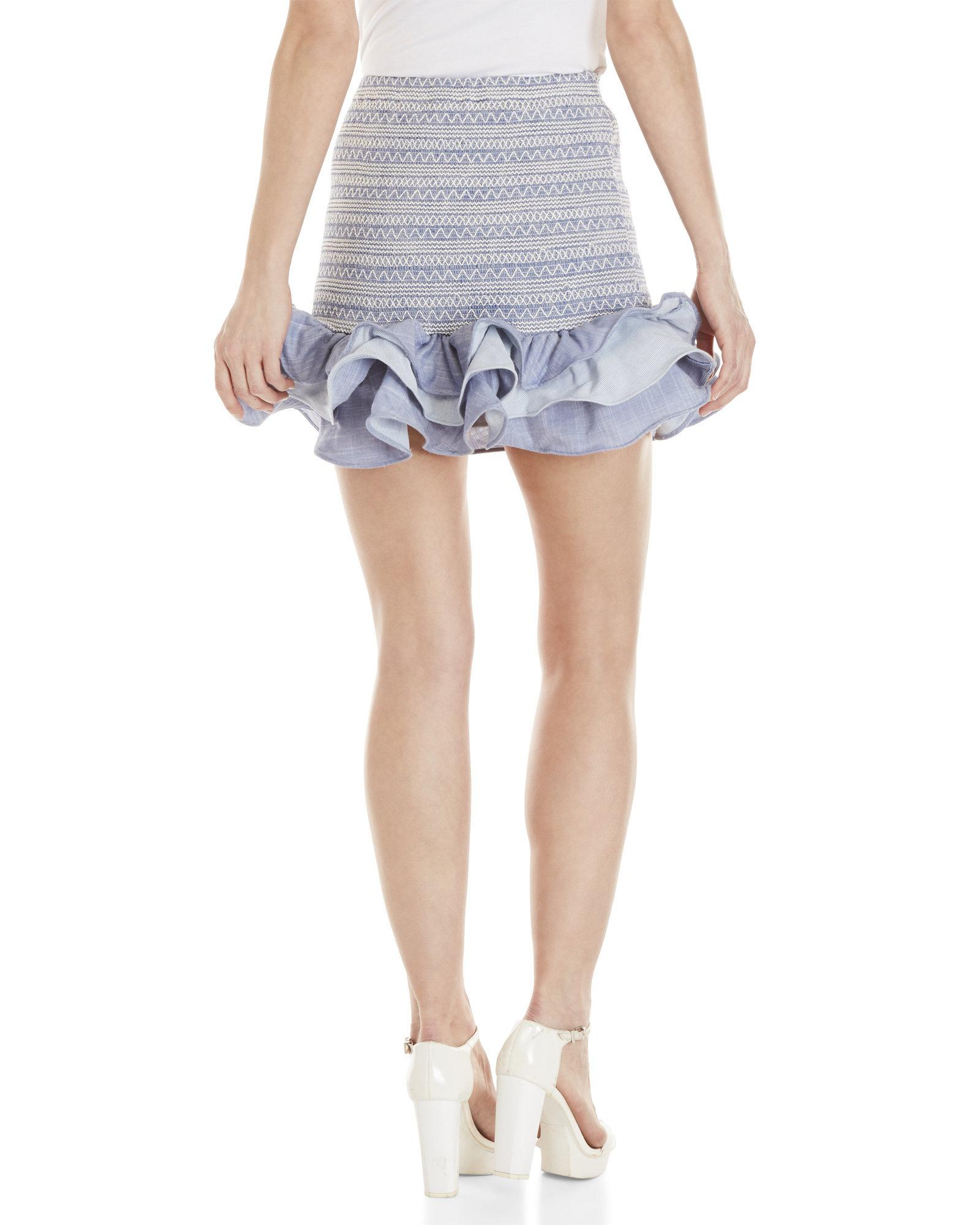 7bde9f78b1 Red Carter Joss Chambray Smocked Mini Skirt in Blue - Lyst