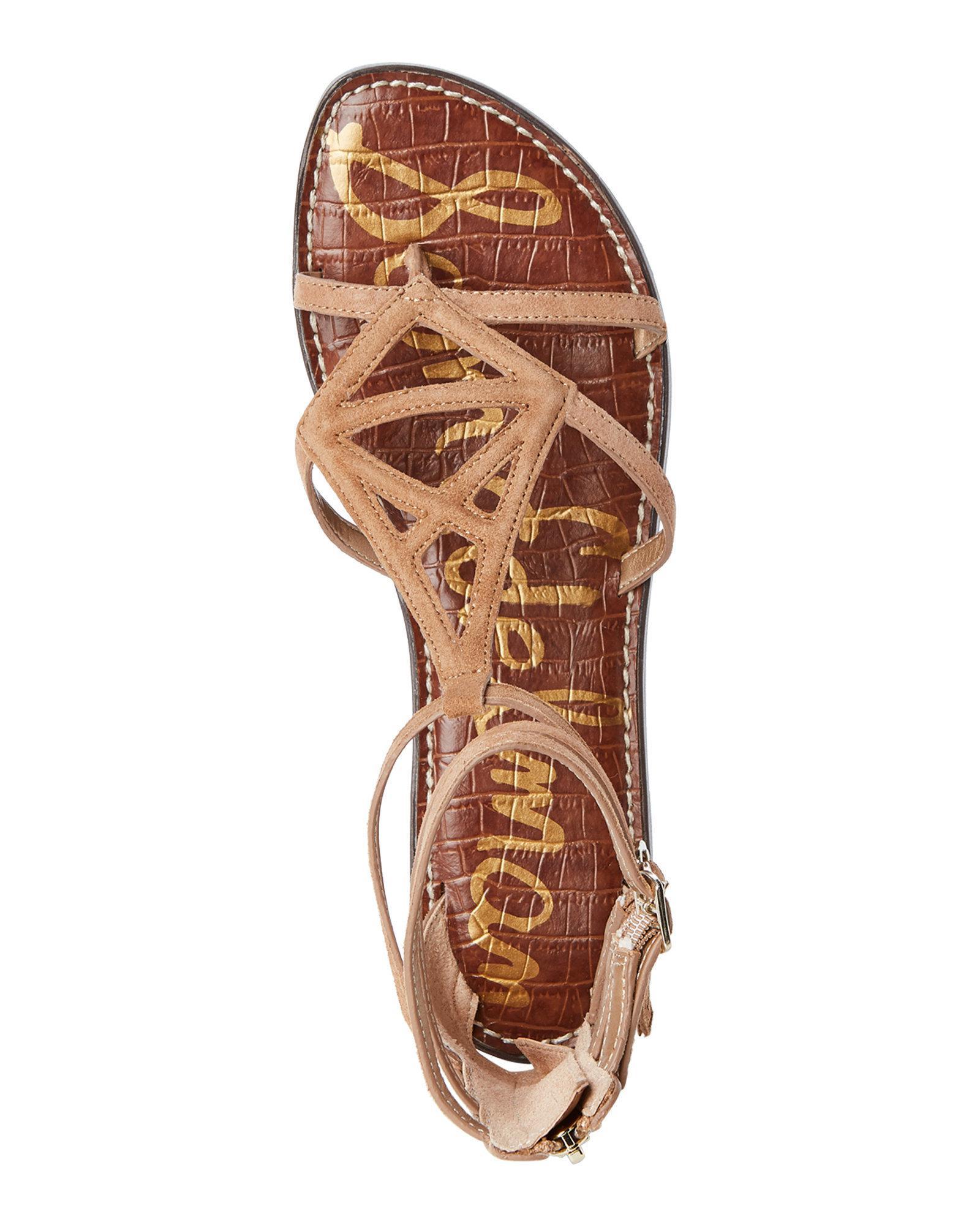 d1427a58c372 Lyst - Sam Edelman Gold Caramel Goldie Flat Gladiator Sandals
