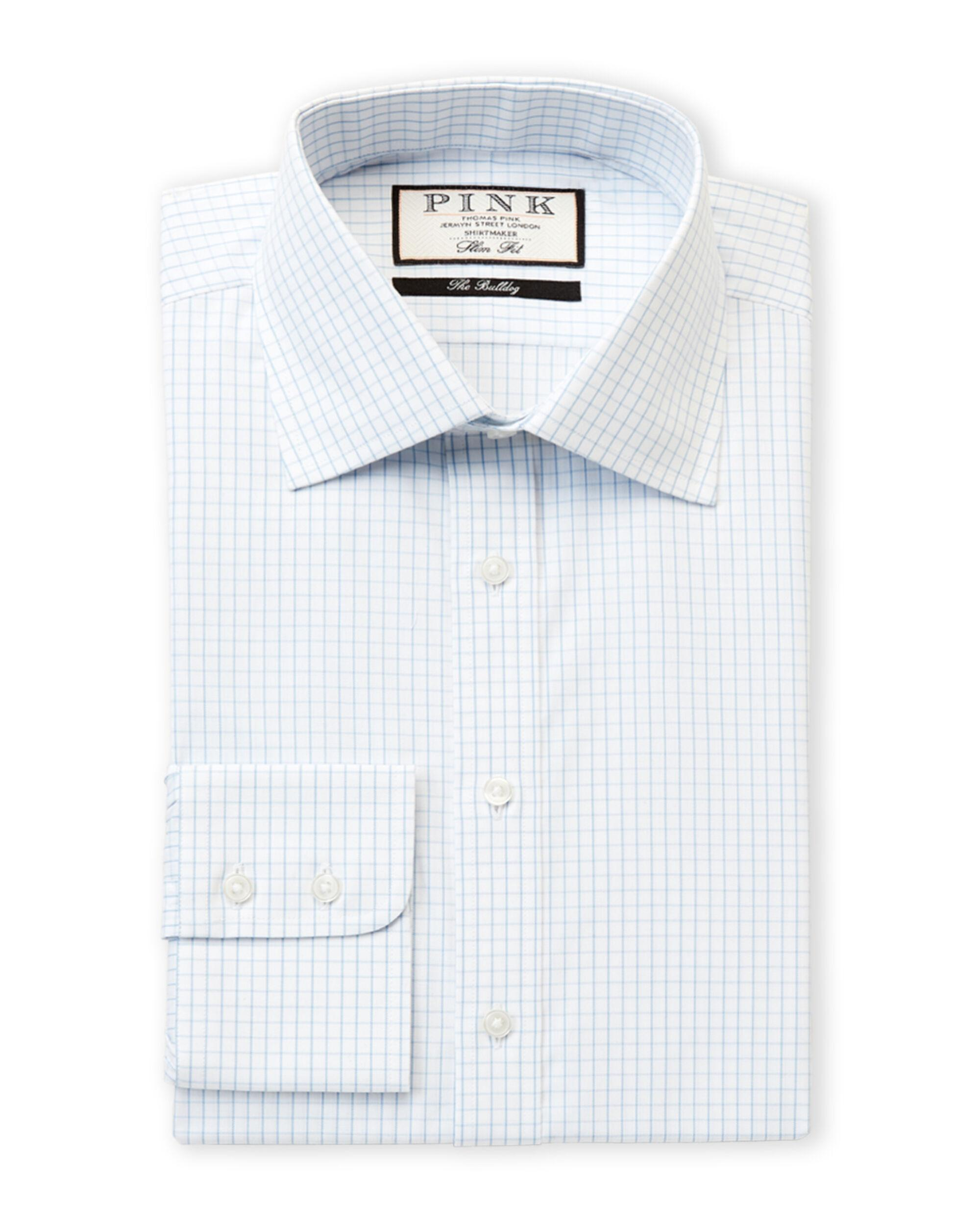 aa4b4c0b Thomas Pink. Men's White Slim Fit Tobias Check Long Sleeve Dress Shirt