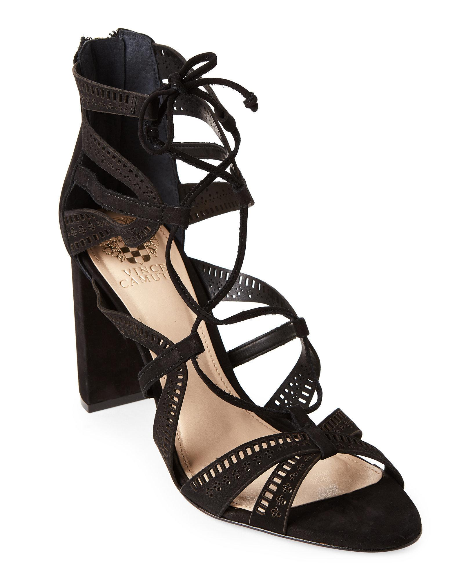 e39c34c697f Lyst - Vince Camuto Black Mindie Block Heel Ghillie Lace-up Sandals ...