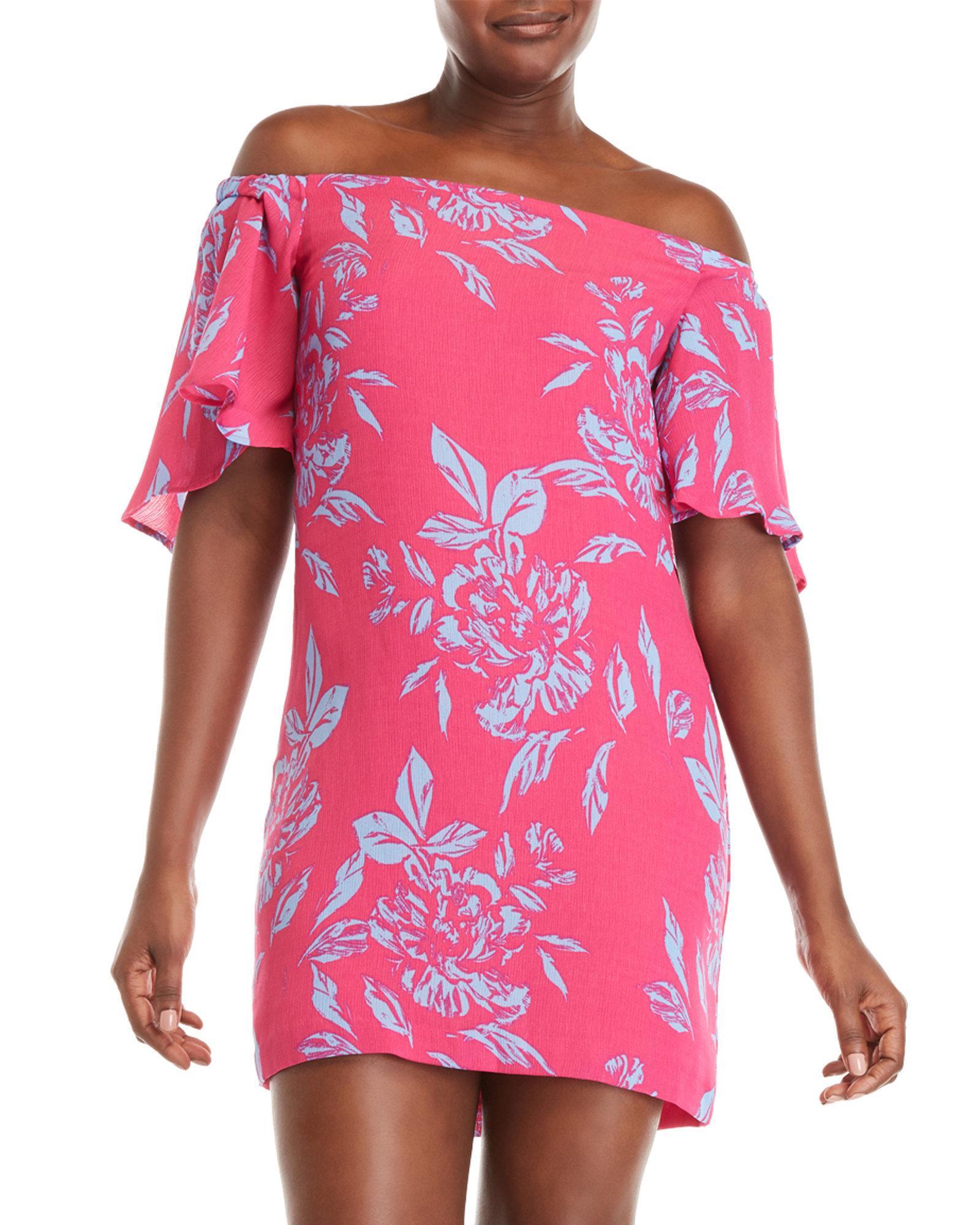 277c90f88d6 Lyst - Charles Henry Floral Off-the-shoulder Dress in Pink