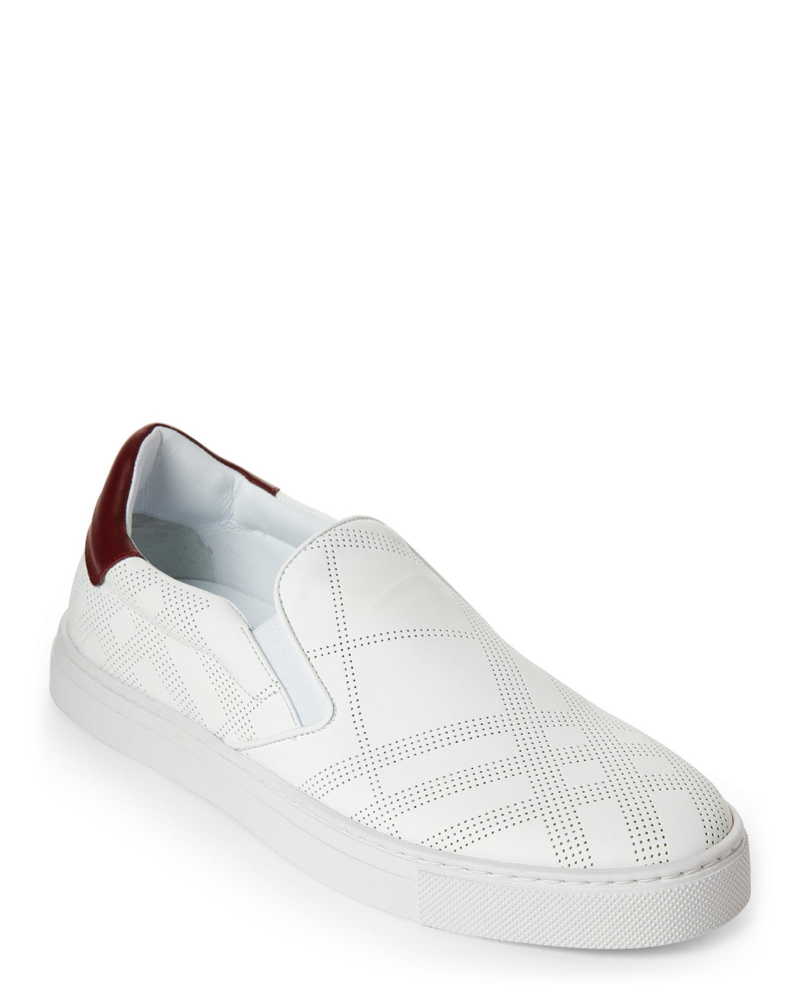 Burberry. Men's Optic White Copford Perforated Check Slip On Sneakers