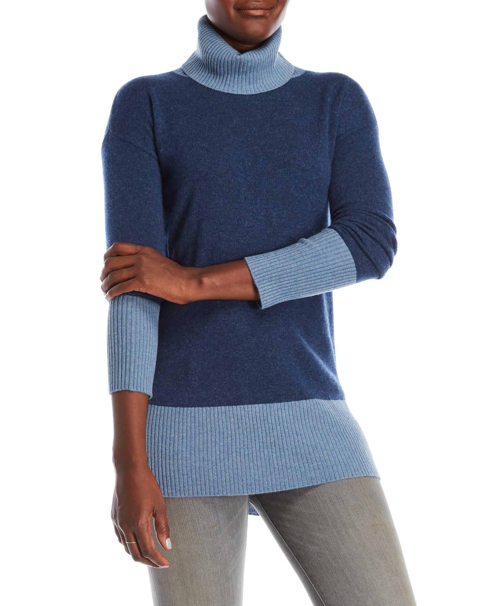 Sofia cashmere Color Block Cashmere Turtleneck Sweater in Blue | Lyst