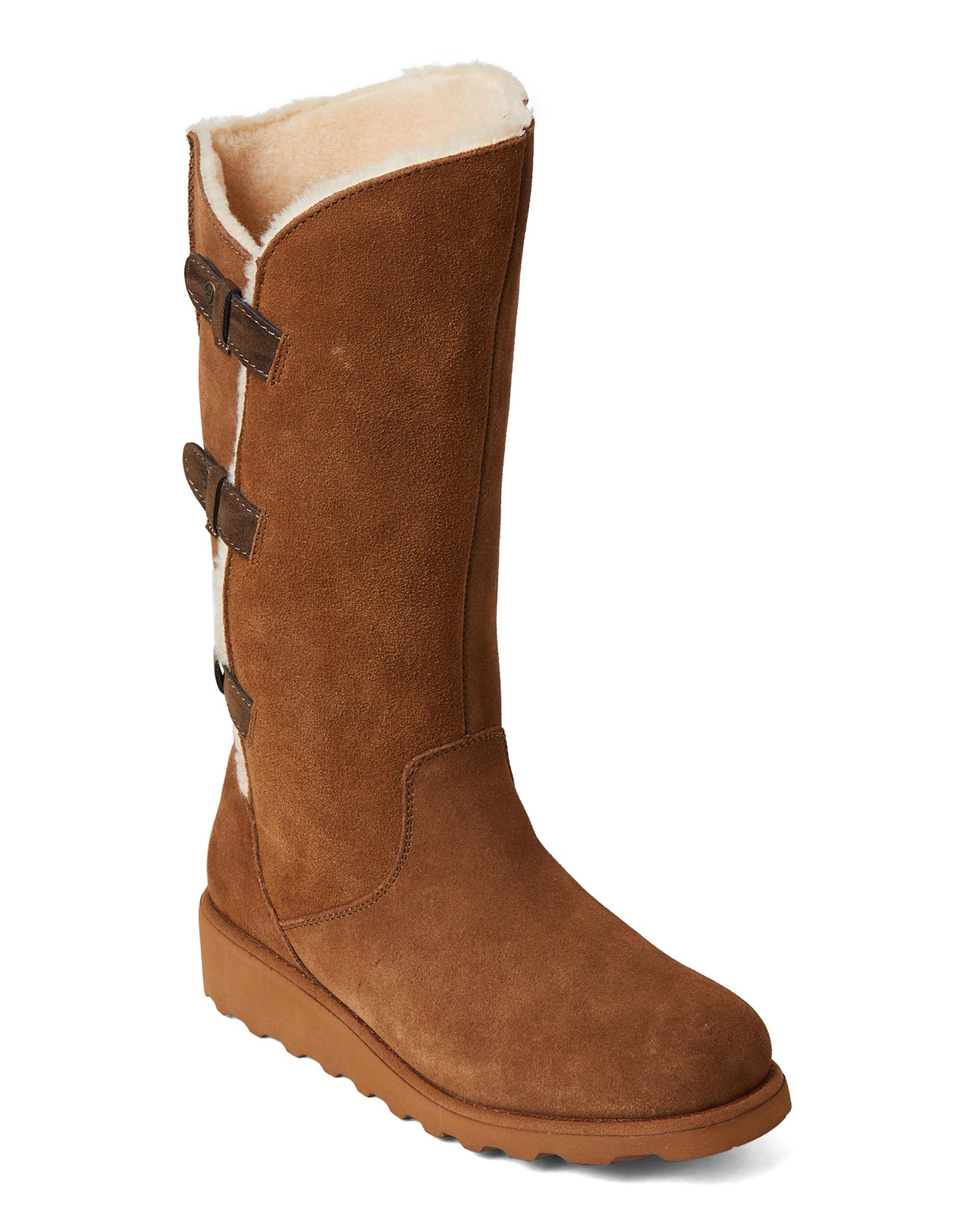 0108cca34bd Lyst - BEARPAW Hickory Hayden Real Fur Tall Wedge Boots in Brown