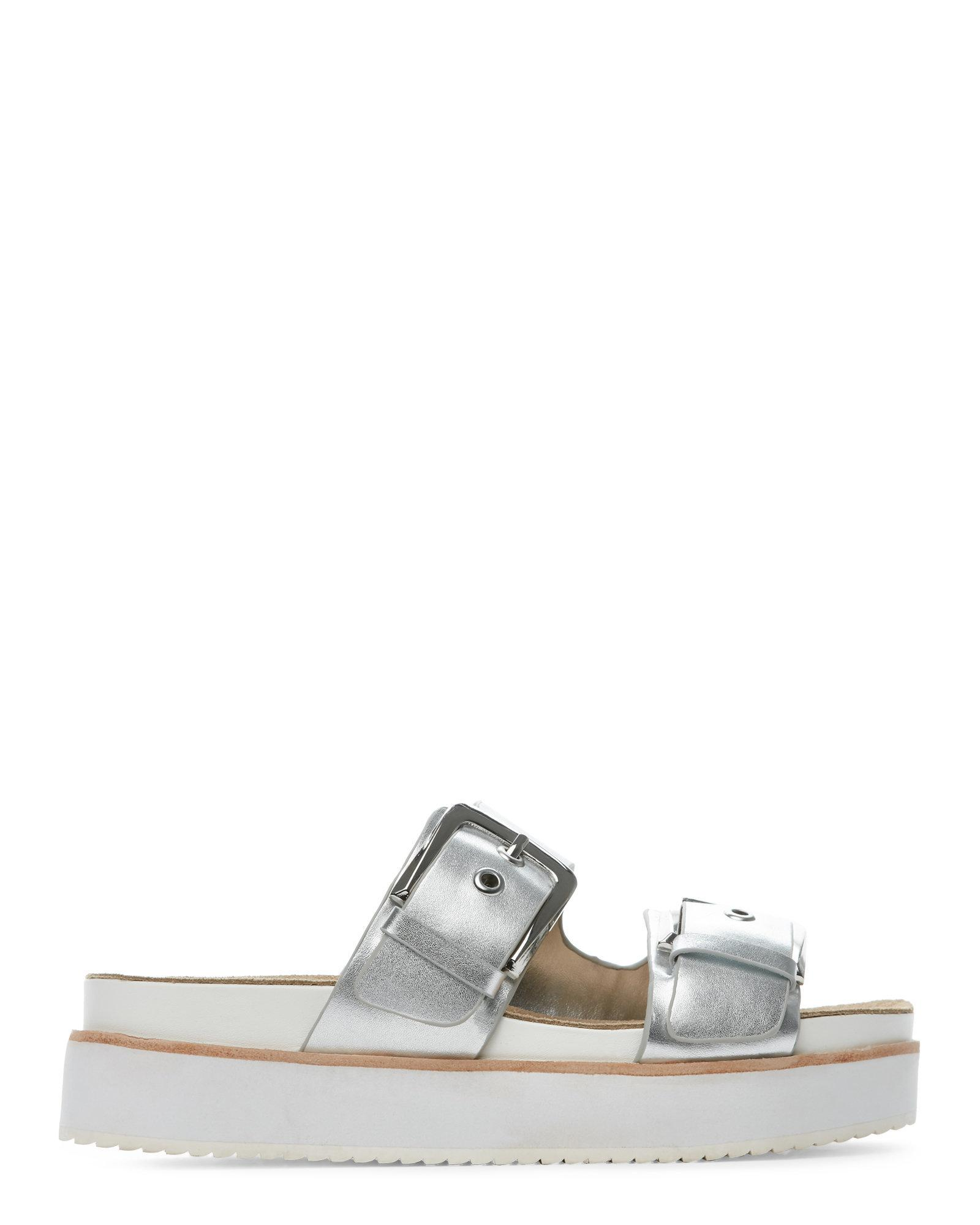 f8be47ccb8c Lyst - Steve Madden Silver Pate Platform Footbed Sandals in Metallic