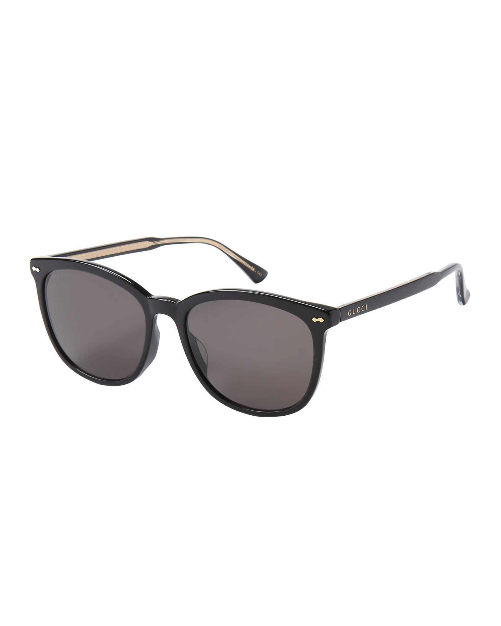 85add78a75 Gucci GG0196SK Black Round Sunglasses in Black - Lyst
