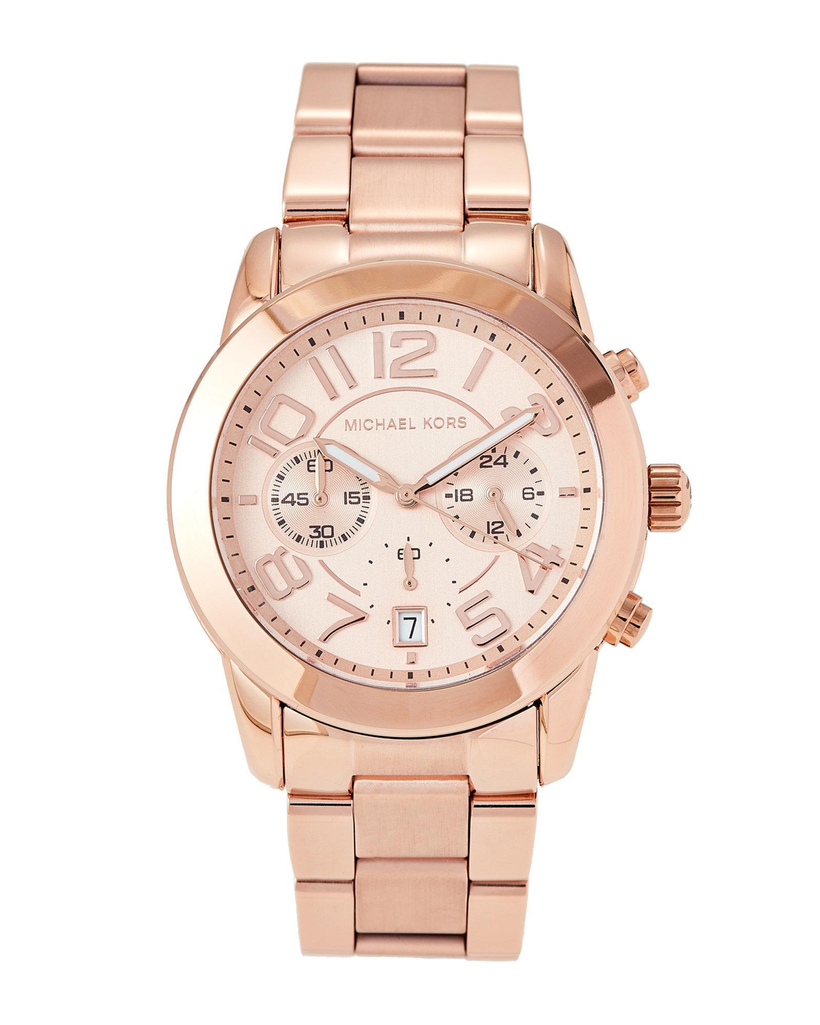 fafafffab888 Lyst - Michael Kors Mk5727 Rose Gold-tone Mercer Watch in Pink