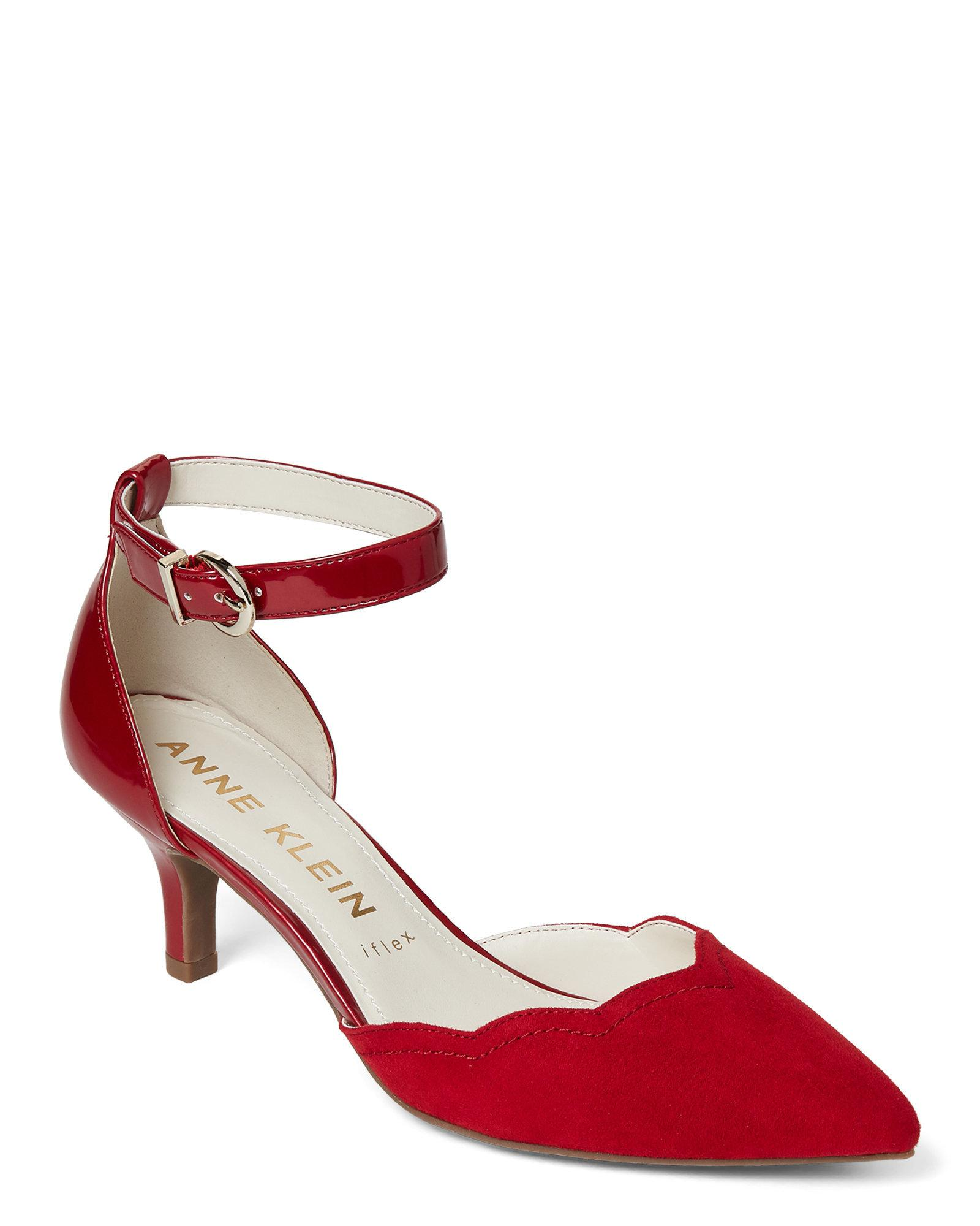 2e1cf43b281b Lyst - Anne Klein Red Ankle Strap Kitten Heel Pumps in Red
