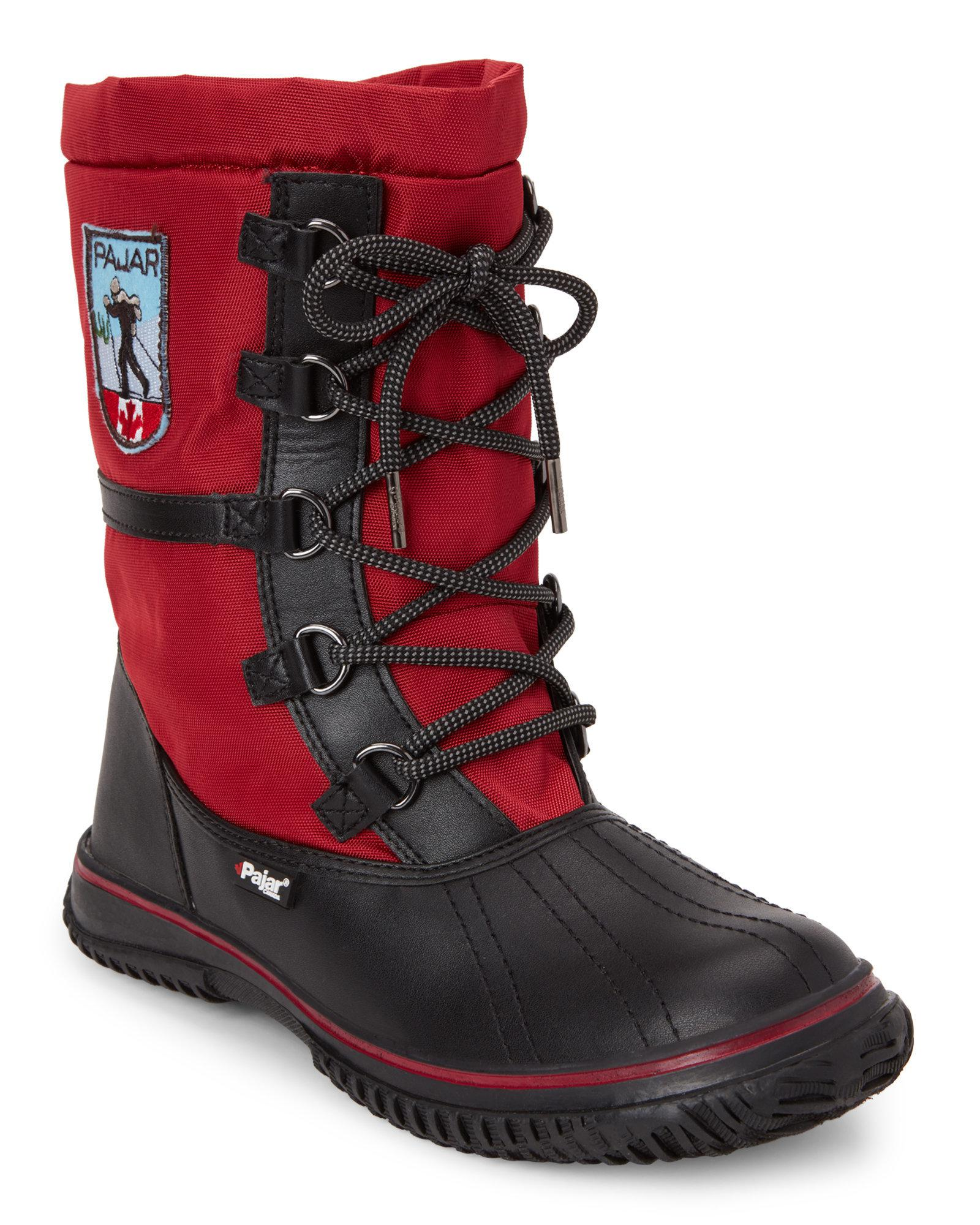 f62a3b2dcd45 Lyst - Pajar Black   Red Grip Low Snow Boots in Red