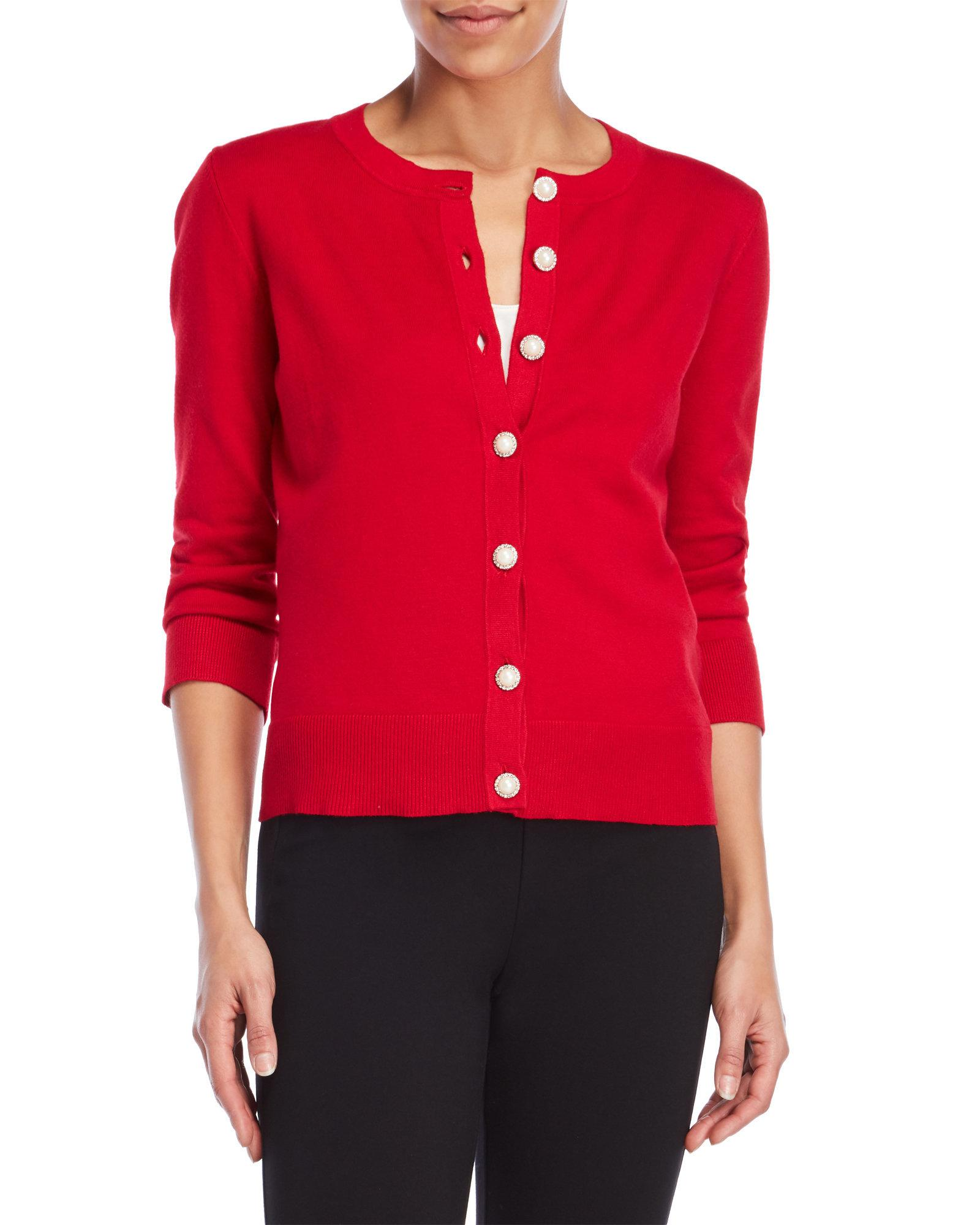 Lyst Cable Gauge Diamonds And Pearls Cardigan In Red