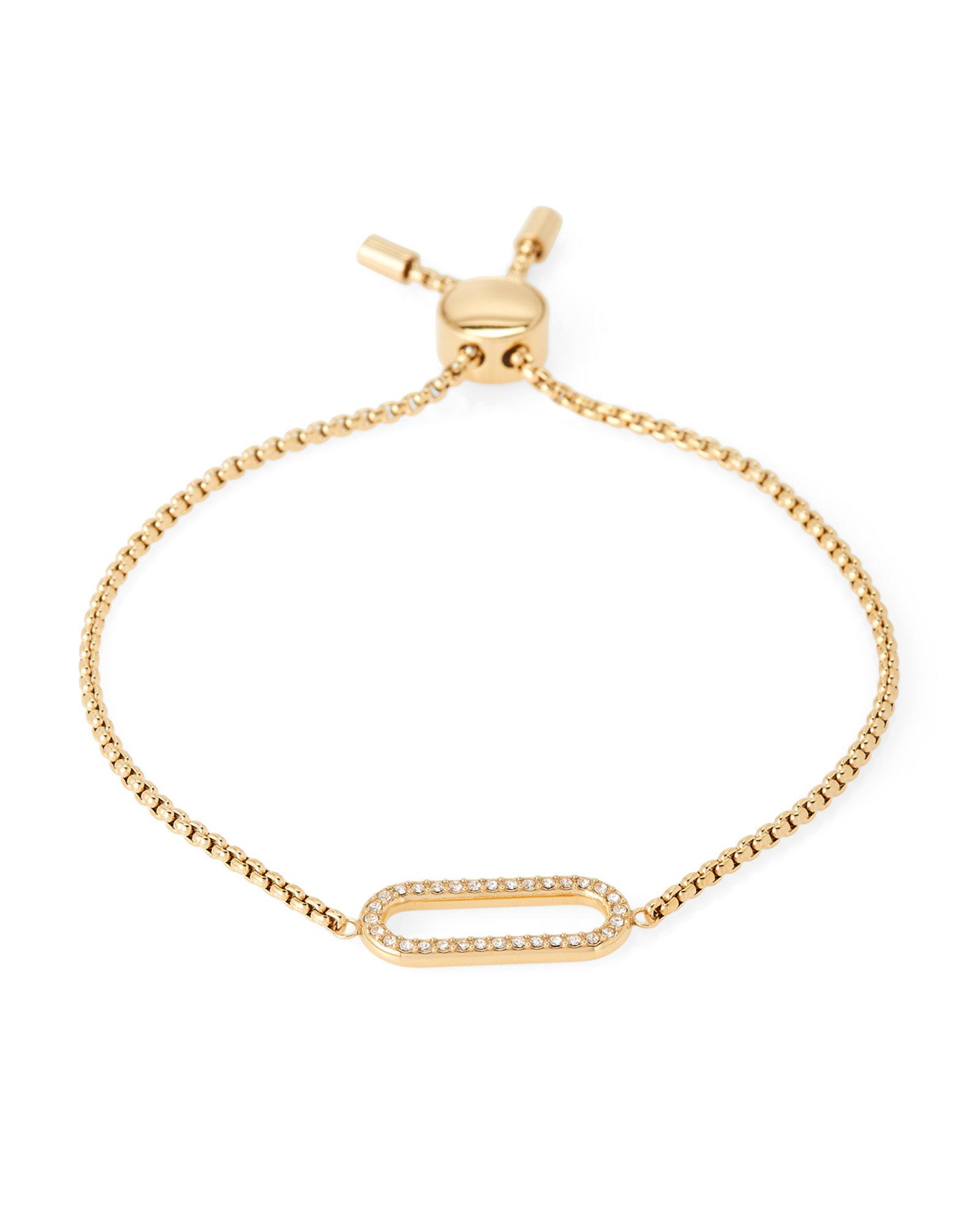 64e3a2741599 Lyst - Michael Kors Gold-tone Pave Link Slider Bracelet in Metallic