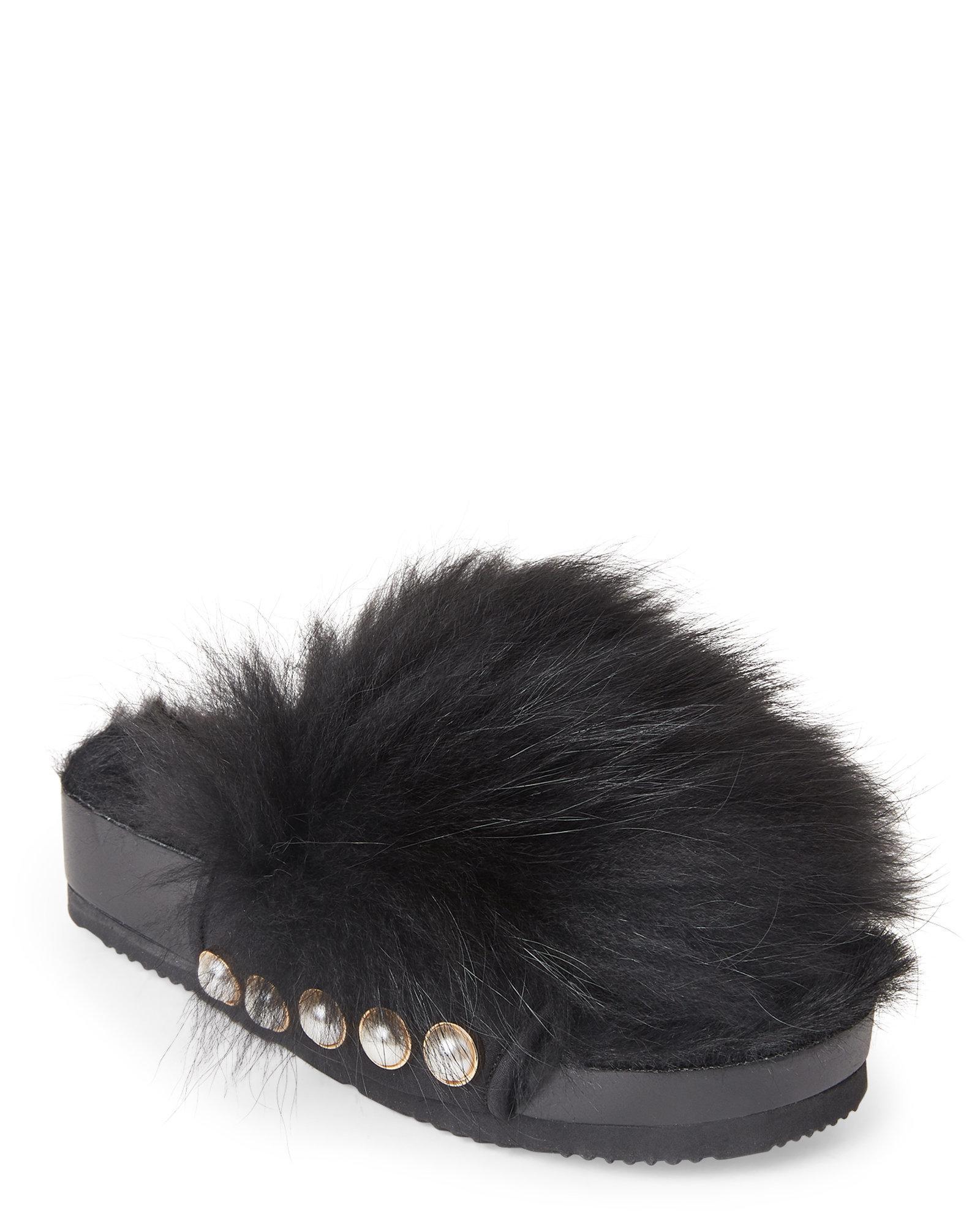 lyst suecomma bonnie black pearl embellished real fur slide