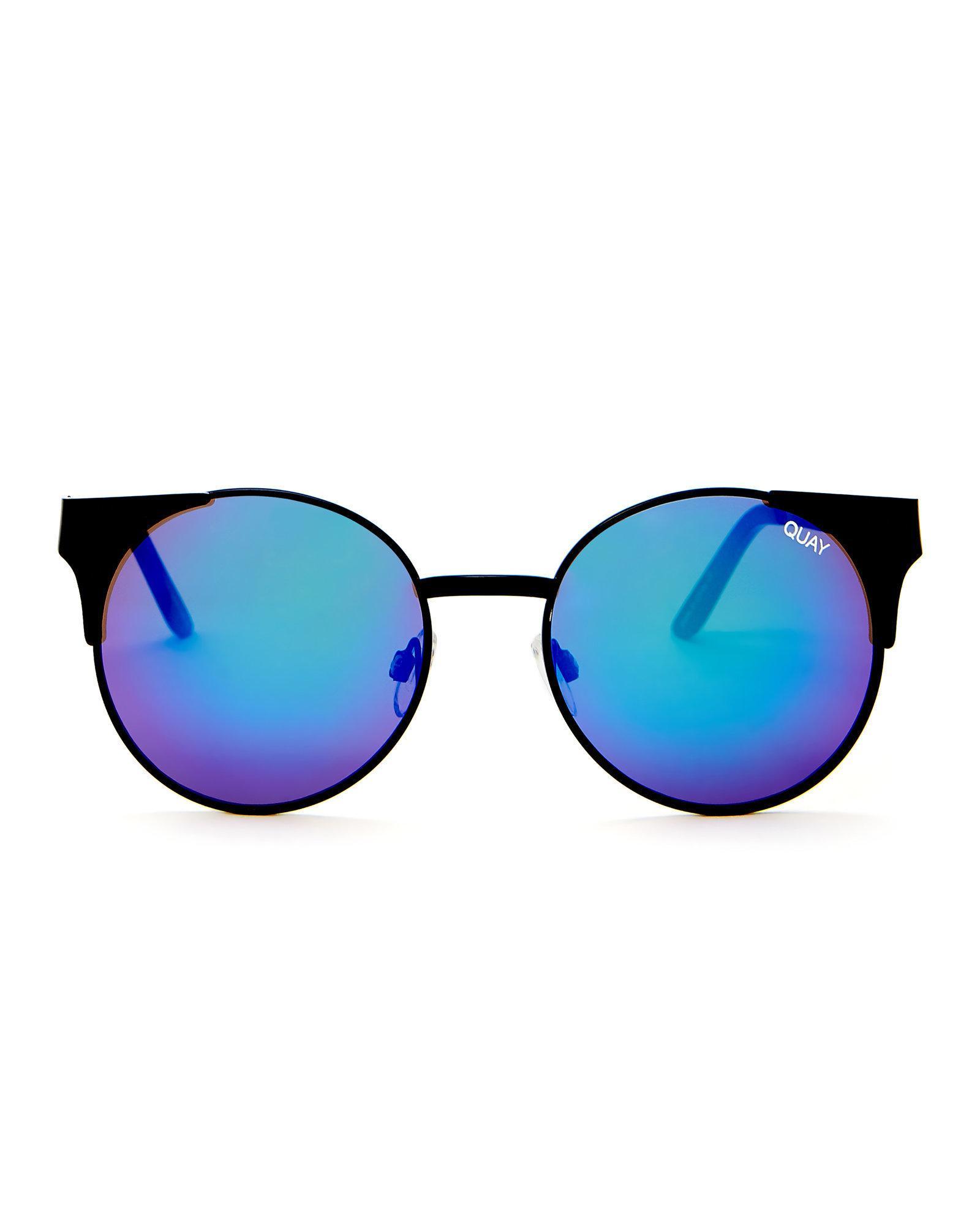 3dc9ba1706 Lyst - Quay Black Asha Cat Eye Sunglasses in Blue