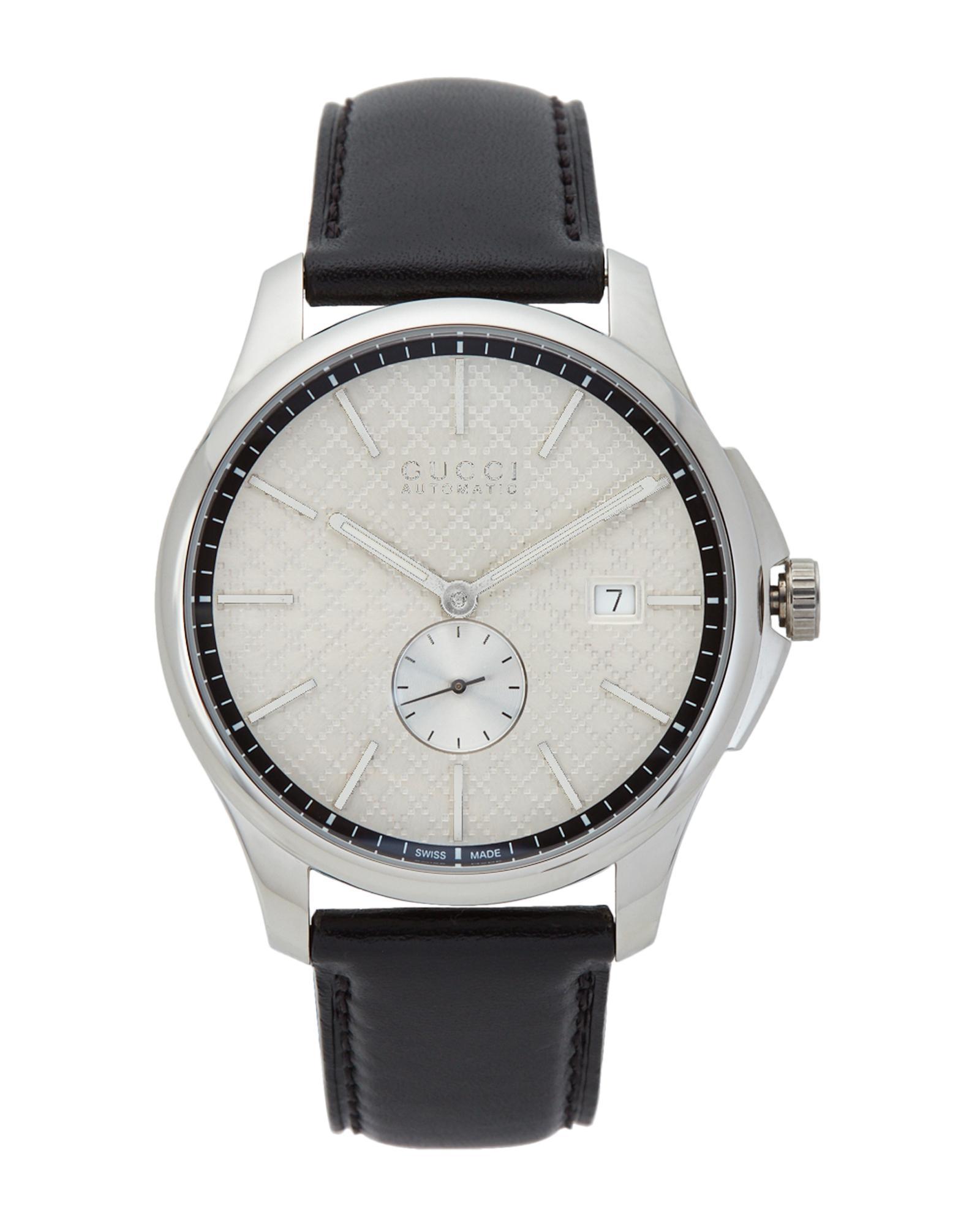 b7ed172d23a Lyst - Gucci Ya126313 Silver-tone   Black Watch in White for Men