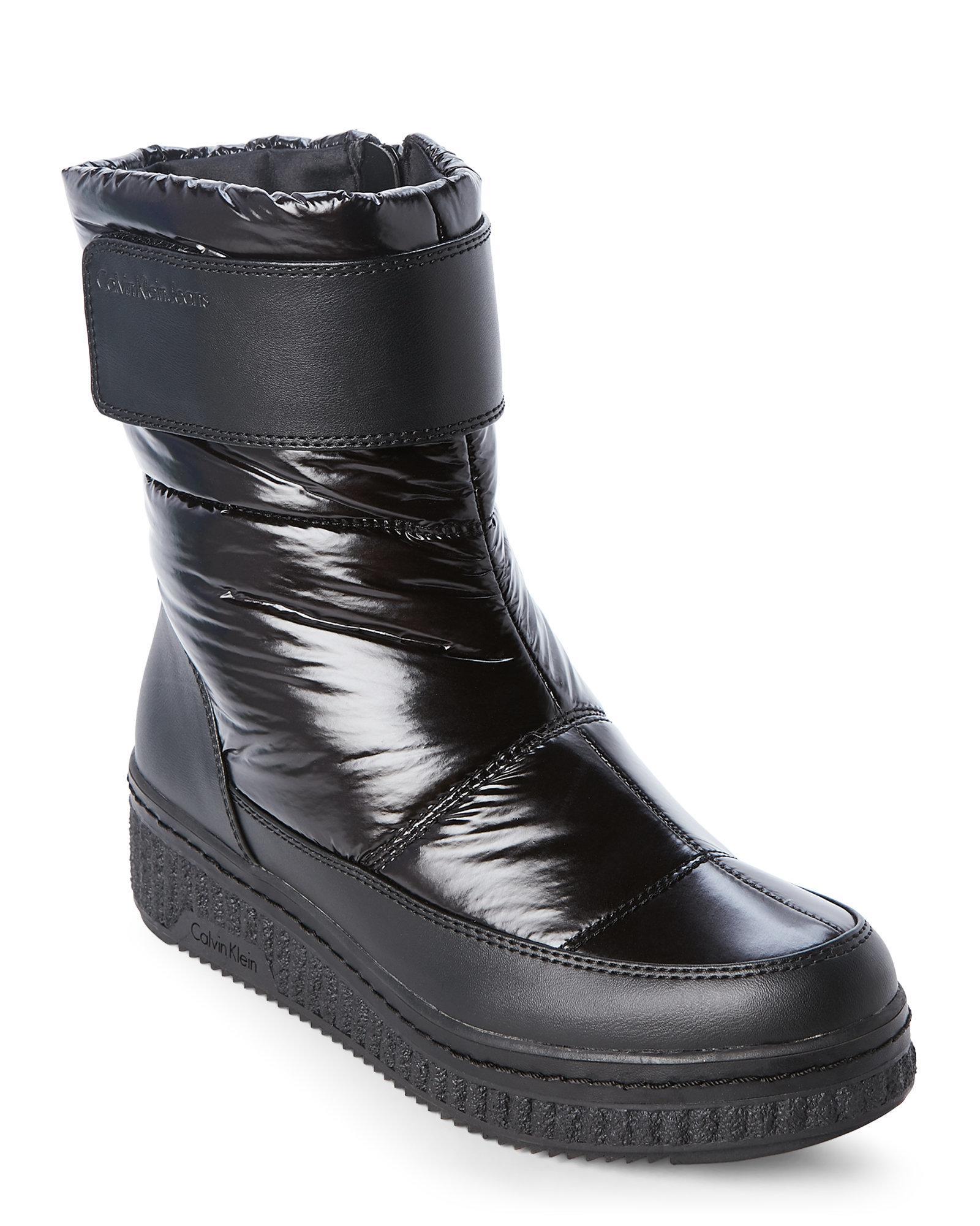 Lyst Calvin Klein Black Leonie Nylon Wedge Boots In Black