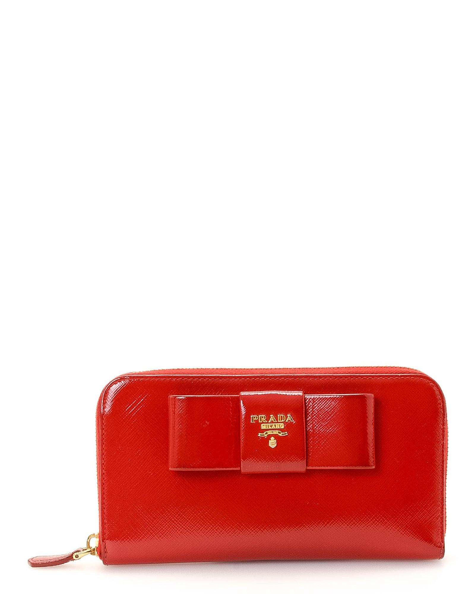 7e1b90837c35 ... amazon prada red bow saffiano lux zip wallet vintage lyst. view  fullscreen 67826 2f2d3