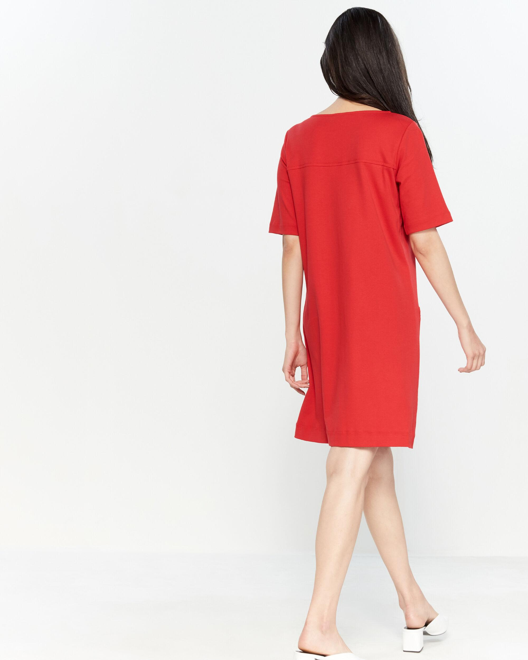 79bcbca3d Joan Vass Petite Zip Pocket Shift Dress in Red - Lyst