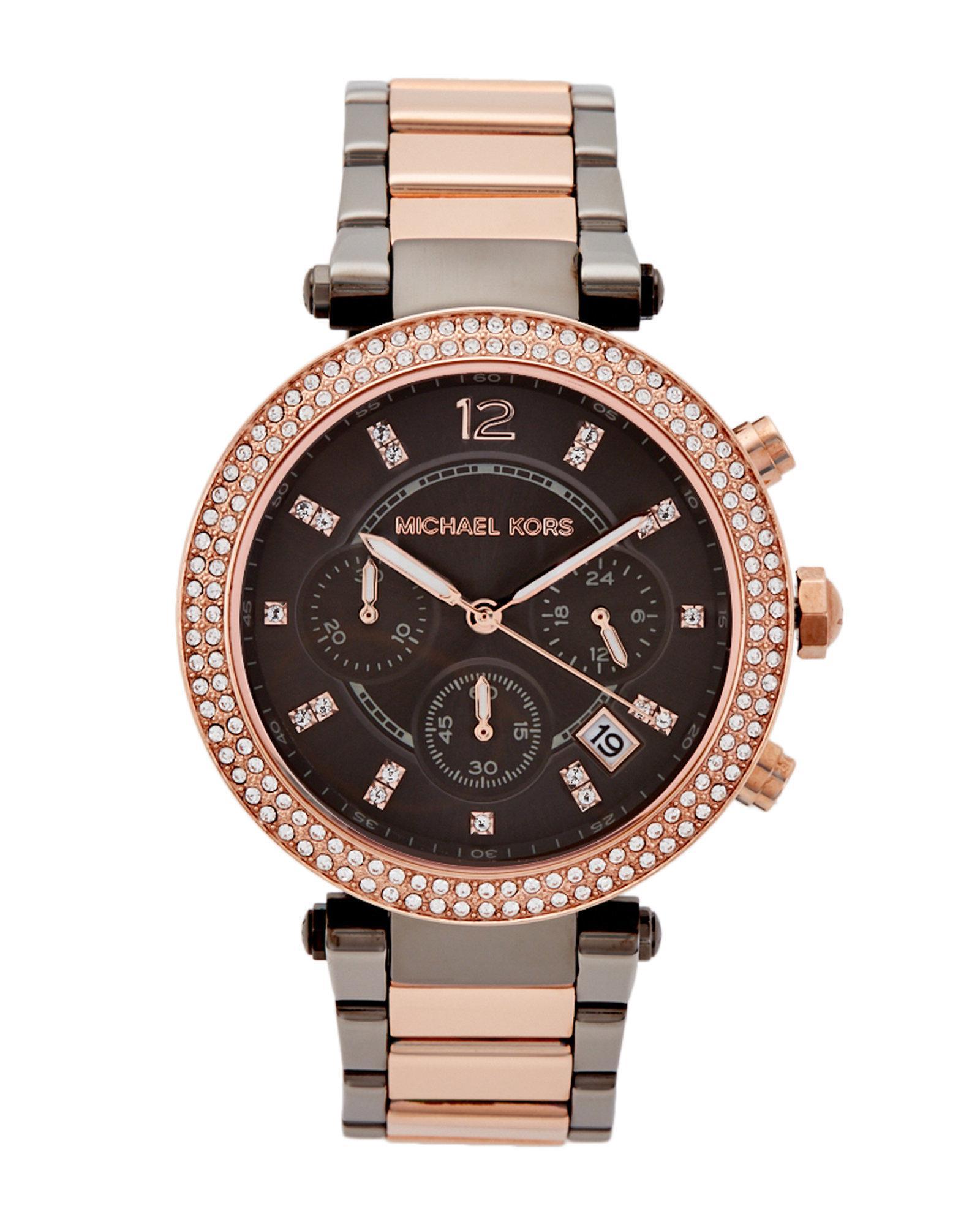 db8b41c657a9 Lyst - Michael Kors Mk6440 Two-tone Parker Watch
