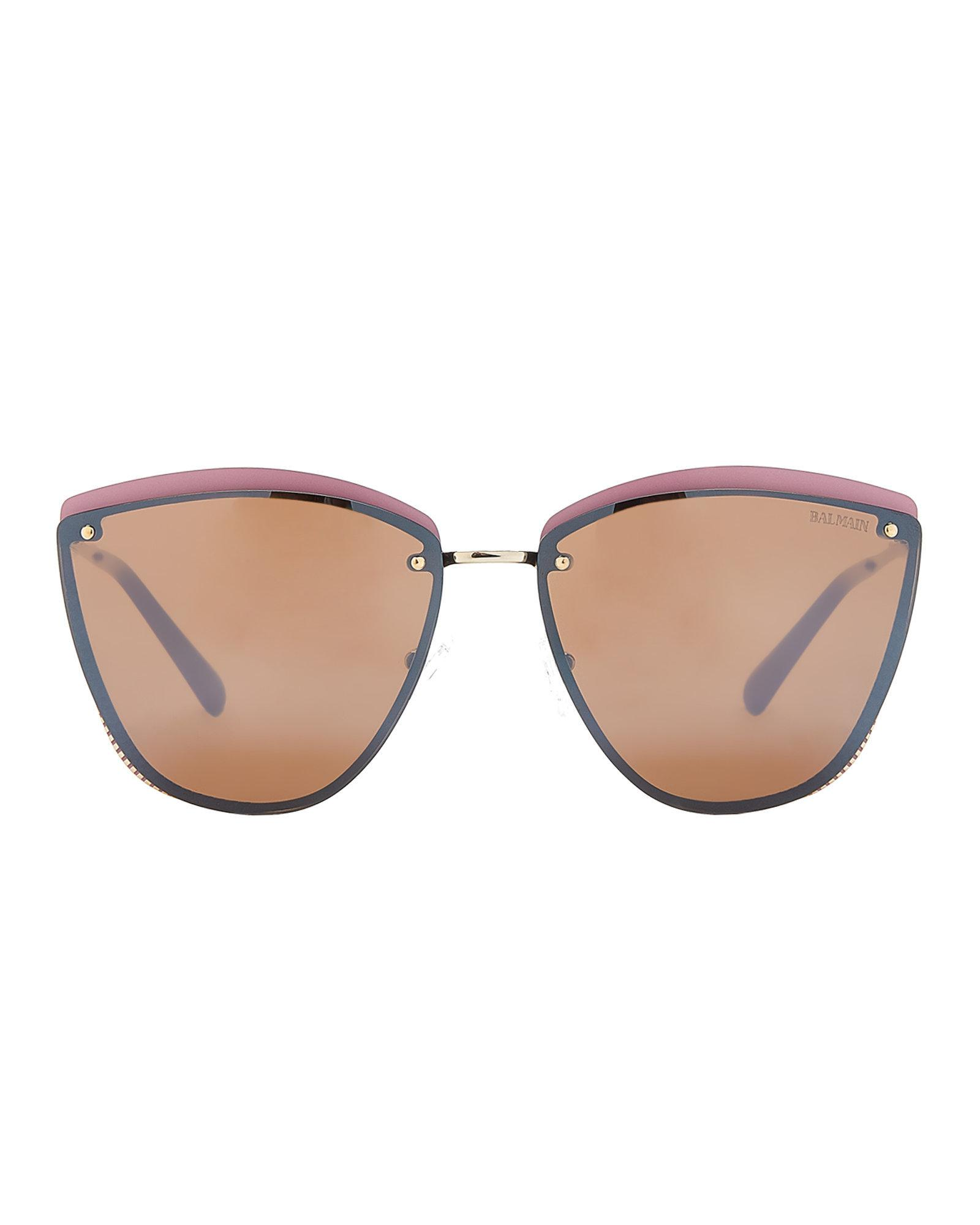 bb93f3a435 Lyst - Balmain Bl253003 Gold-tone   Pink Cat Eye Sunglasses