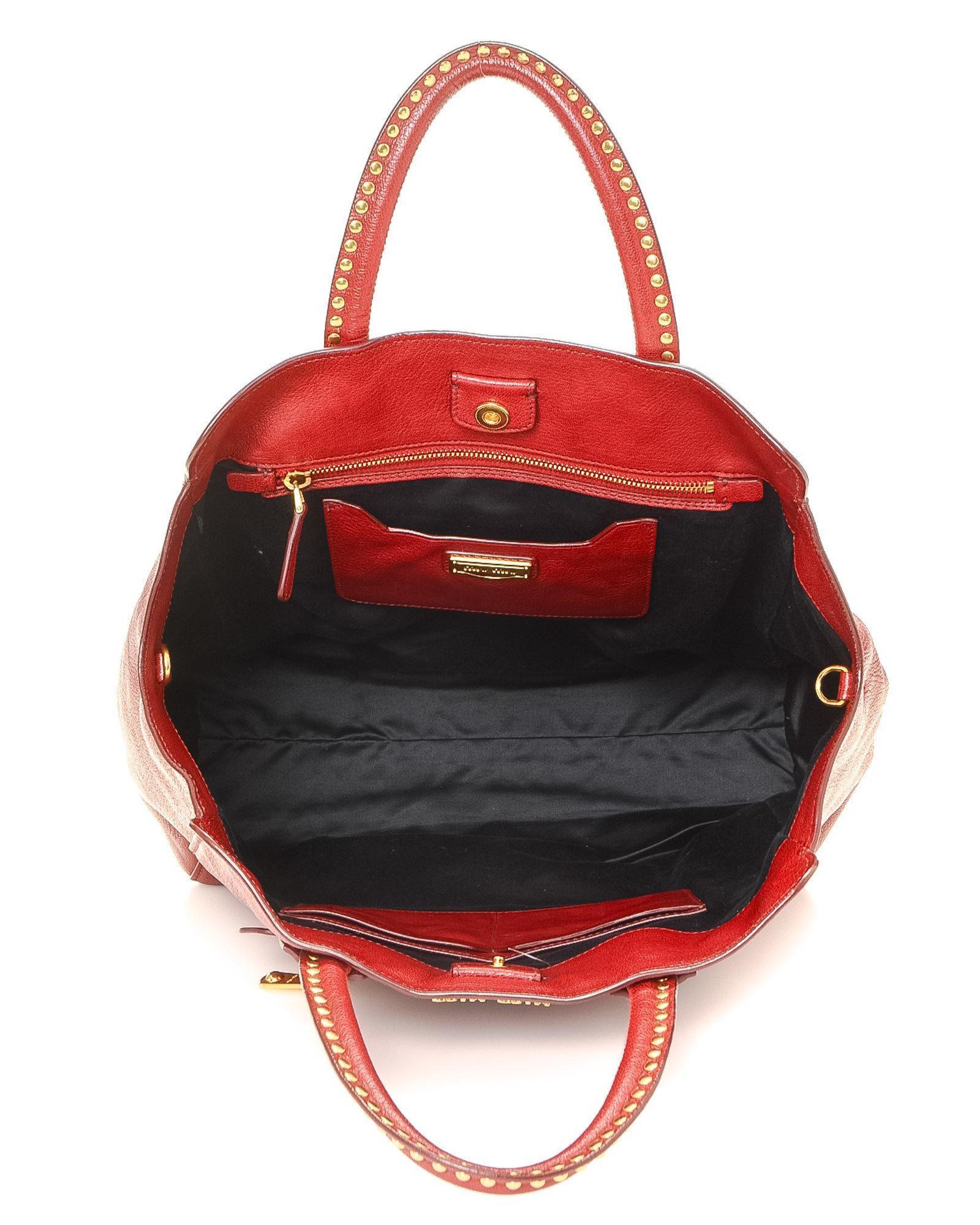 07ced0a79918 Lyst - Miu Miu Vitello Caribu Leather Tote - Vintage in Red