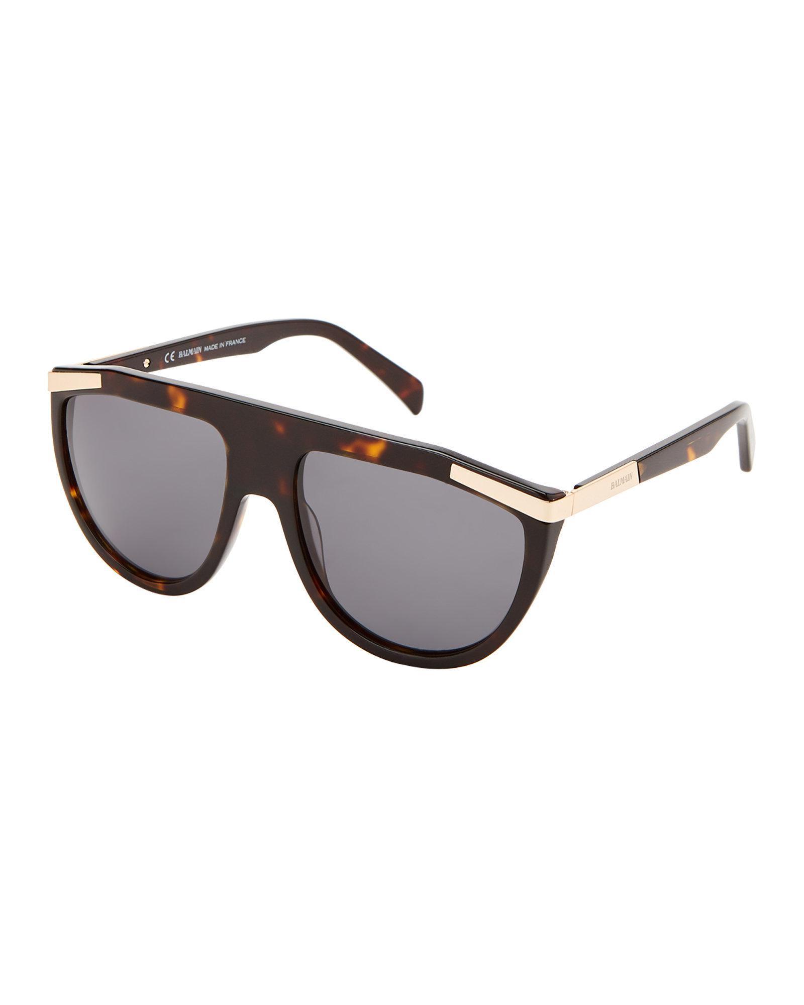 1bfd2cf434f Lyst - Balmain Bl2114 Dark Tortoiseshell-look Flat Top Sunglasses