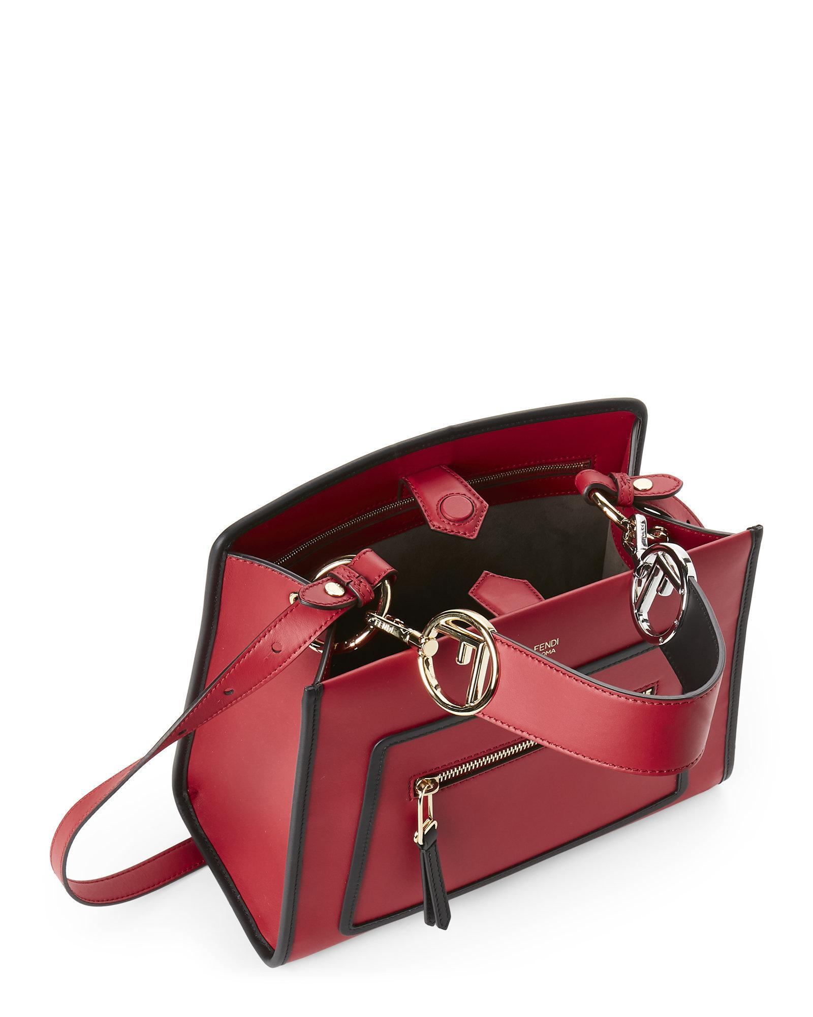 2880d7019122 Lyst - Fendi Runway Small Leather Tote in Red