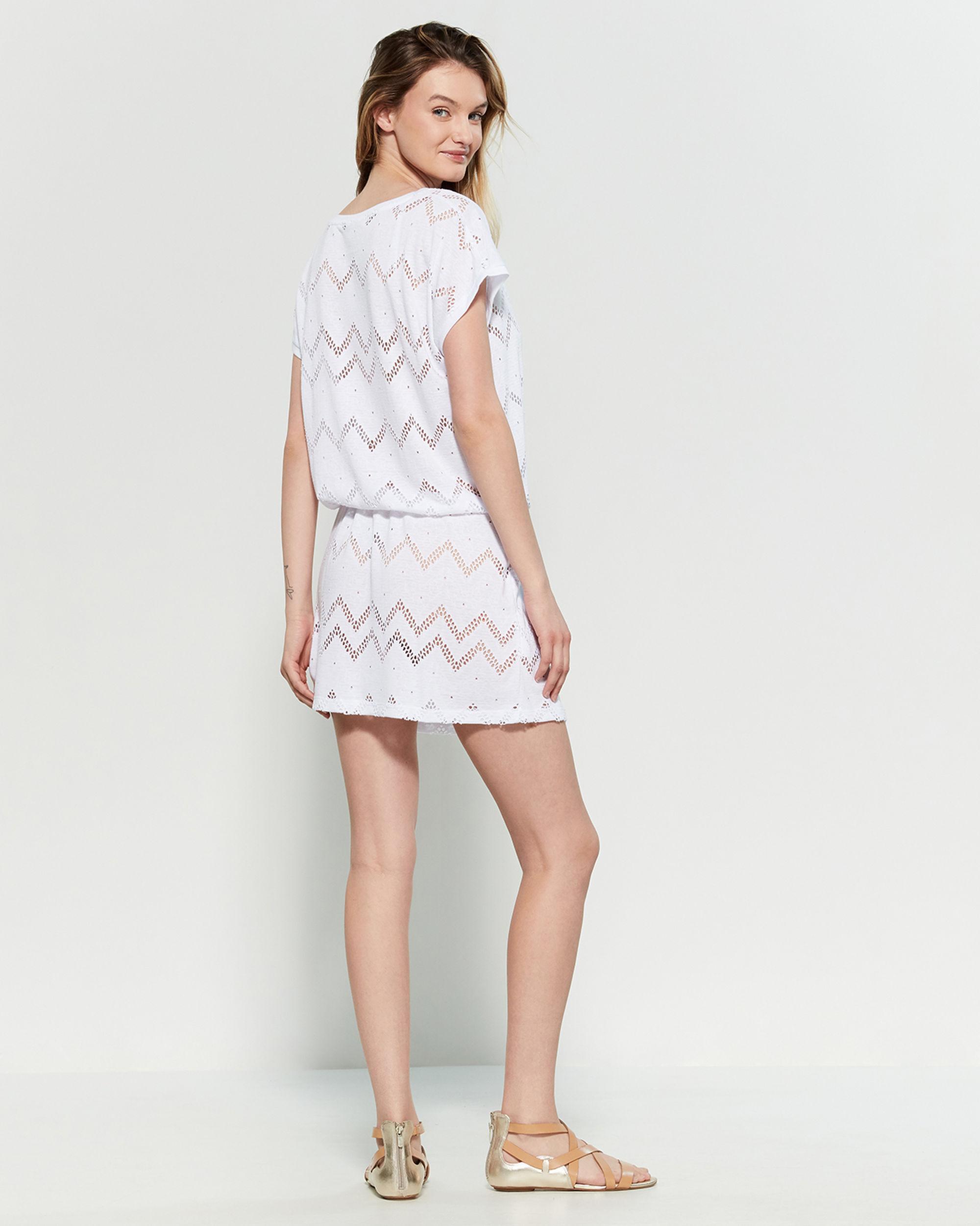 d53e72cb40efd Calvin Klein Soft White Chevron Drawstring Tunic Swim Cover-up in White -  Lyst