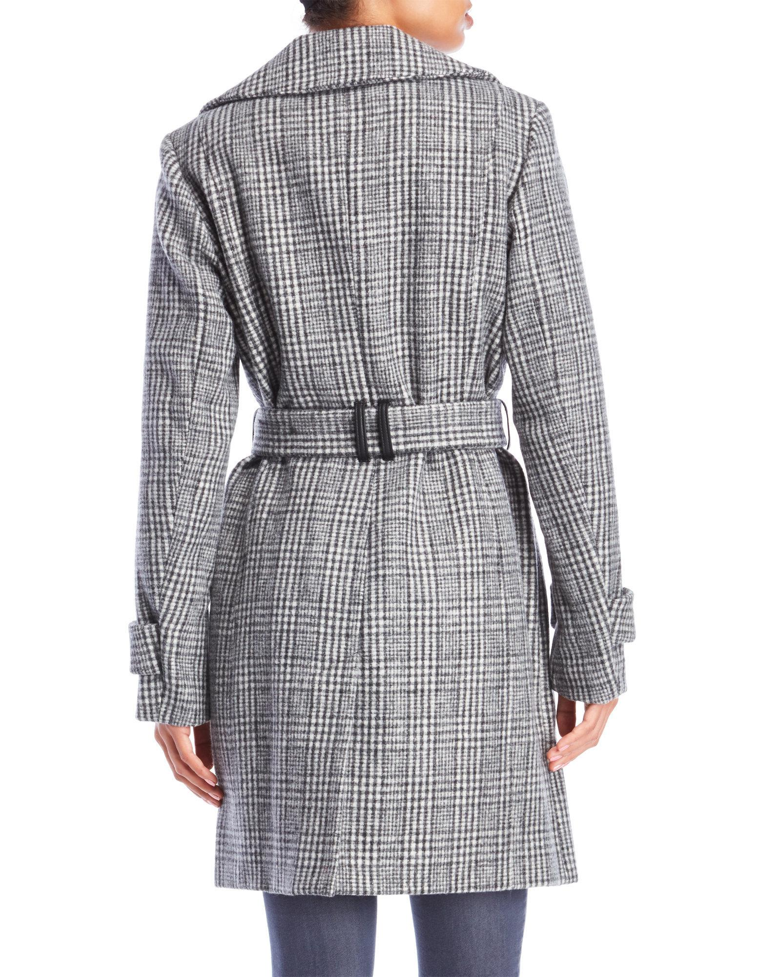 54b46d48241 Lyst - Anne Klein Grey Plaid Double Breasted Trench Coat in Gray