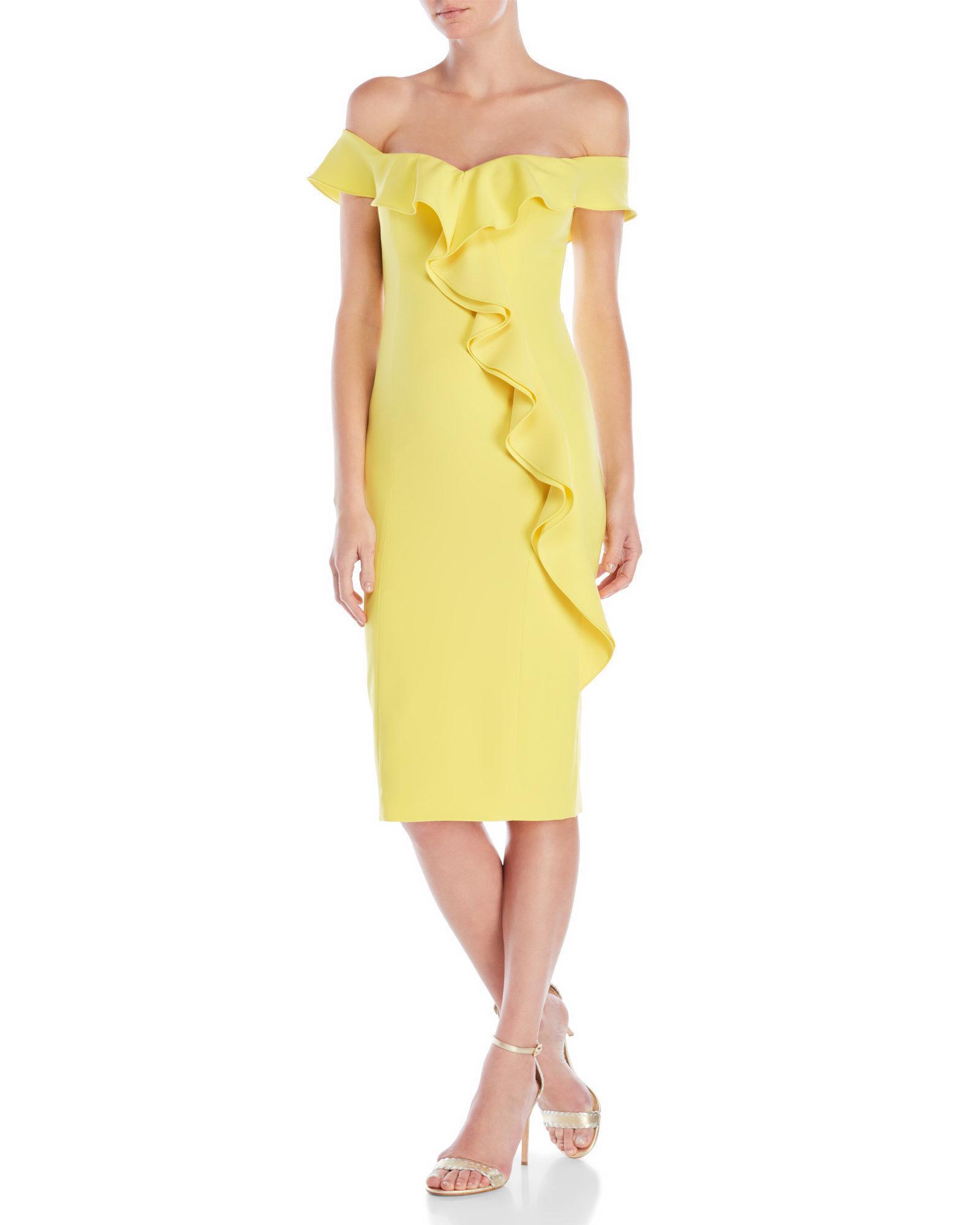 Lyst - Jay Godfrey Gatlin Off-The-Shoulder Ruffle Dress in Yellow dce6a124c