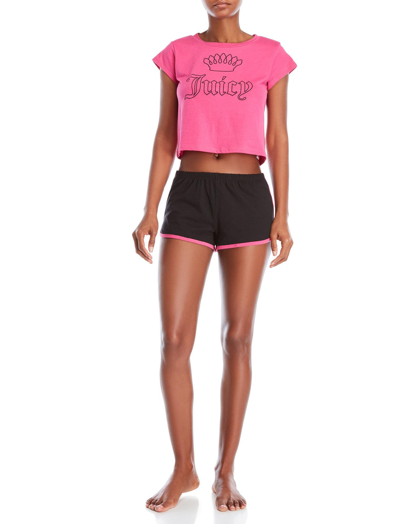 210be34178 Juicy Couture. Women s Two-piece Pajama Crown Tee   Shorts Set
