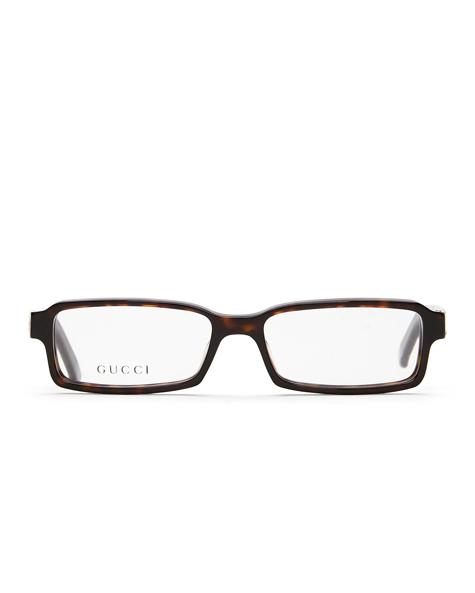 b8dc393e822 Lyst - Gucci Gg 1574 Tortoiseshell-Look Rectangle Optical Frames in ...