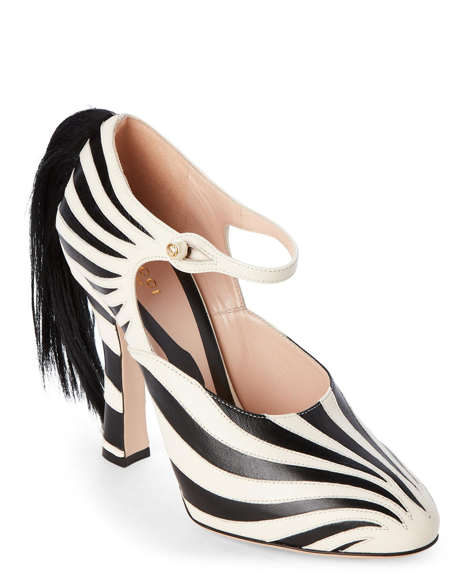1d19f4395 Gucci Black & White Lesley Zebra Real Fur Mary Jane Pumps in Black ...
