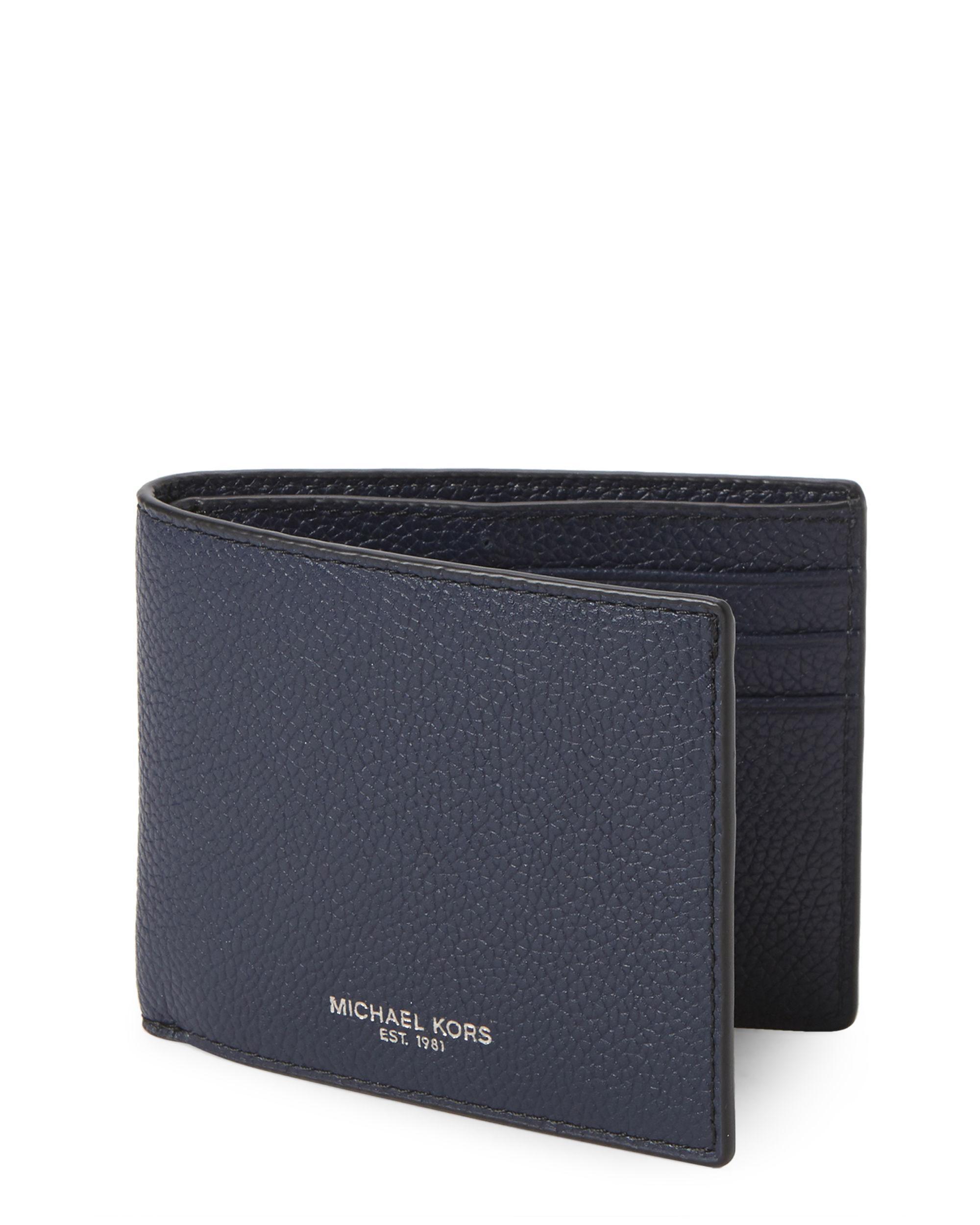 159f52341b1ed0 Lyst - Michael Kors Russel Leather Slim Billfold Wallet in Blue for Men