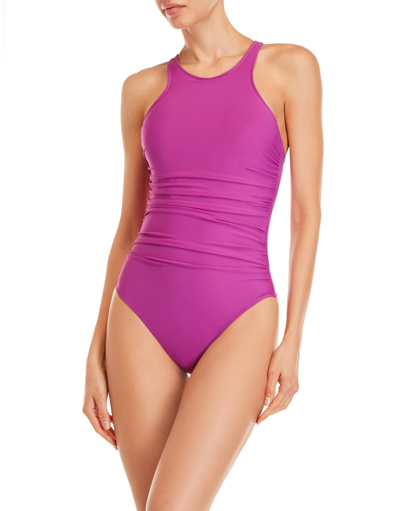 18882fefbe8a0 ... Danika Ruched Tank One-piece Swimsuit - Lyst. View fullscreen