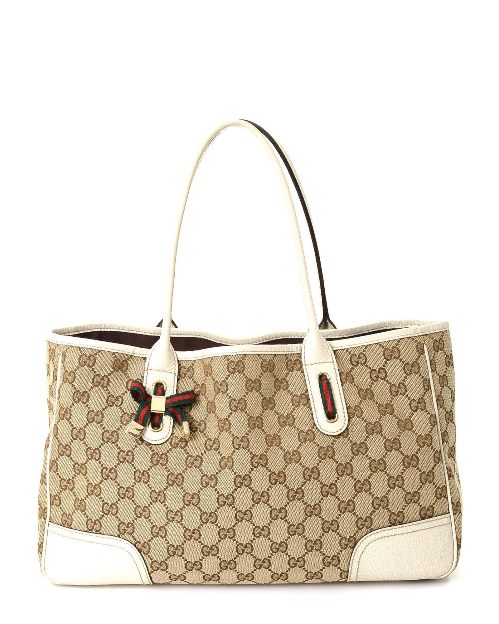 4cf814f3143 Lyst - Gucci Canvas Princy Tote - Vintage in Natural