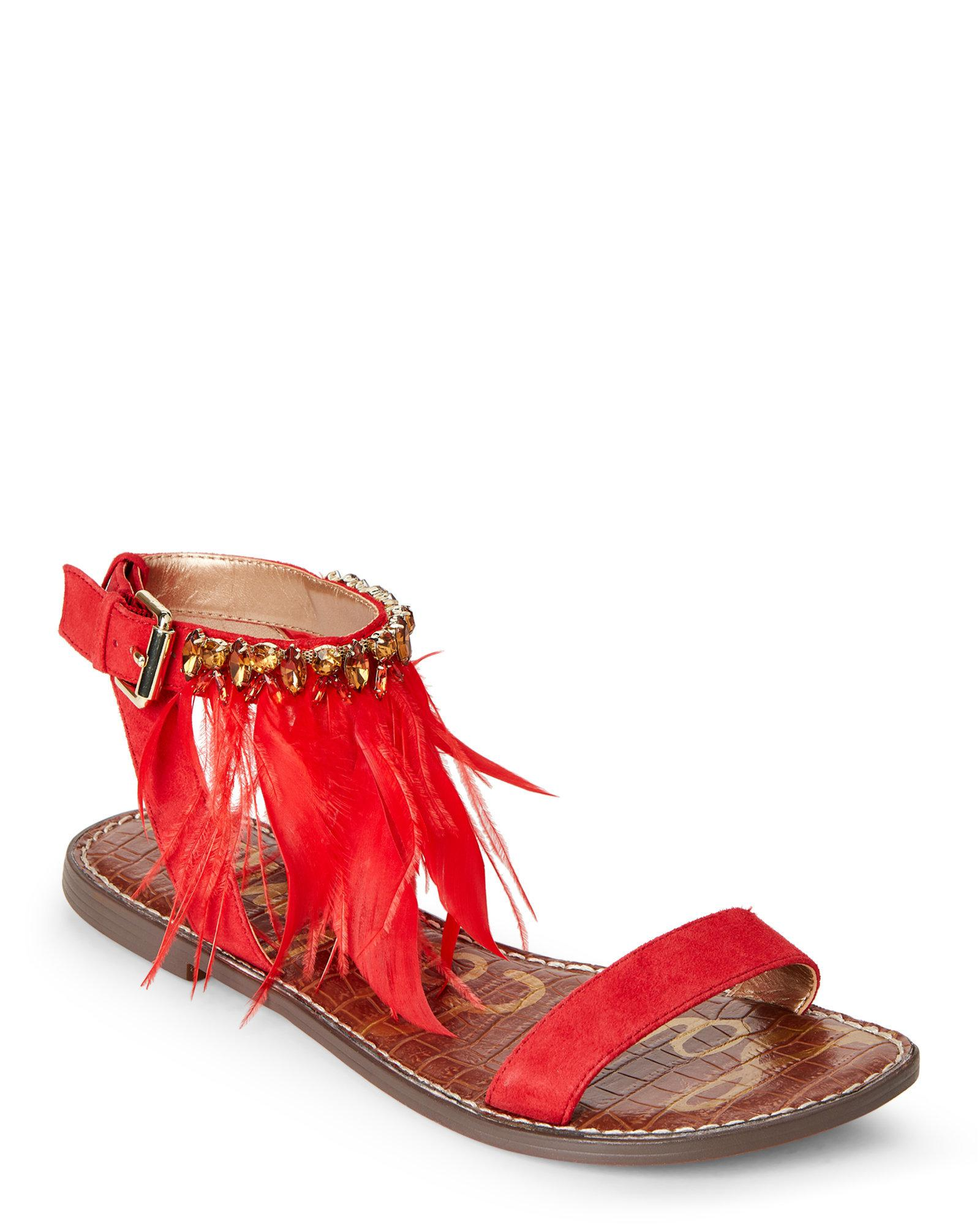 6a16d74900d7e0 Lyst - Sam Edelman Red Genevia Embellished Flat Sandals in Red