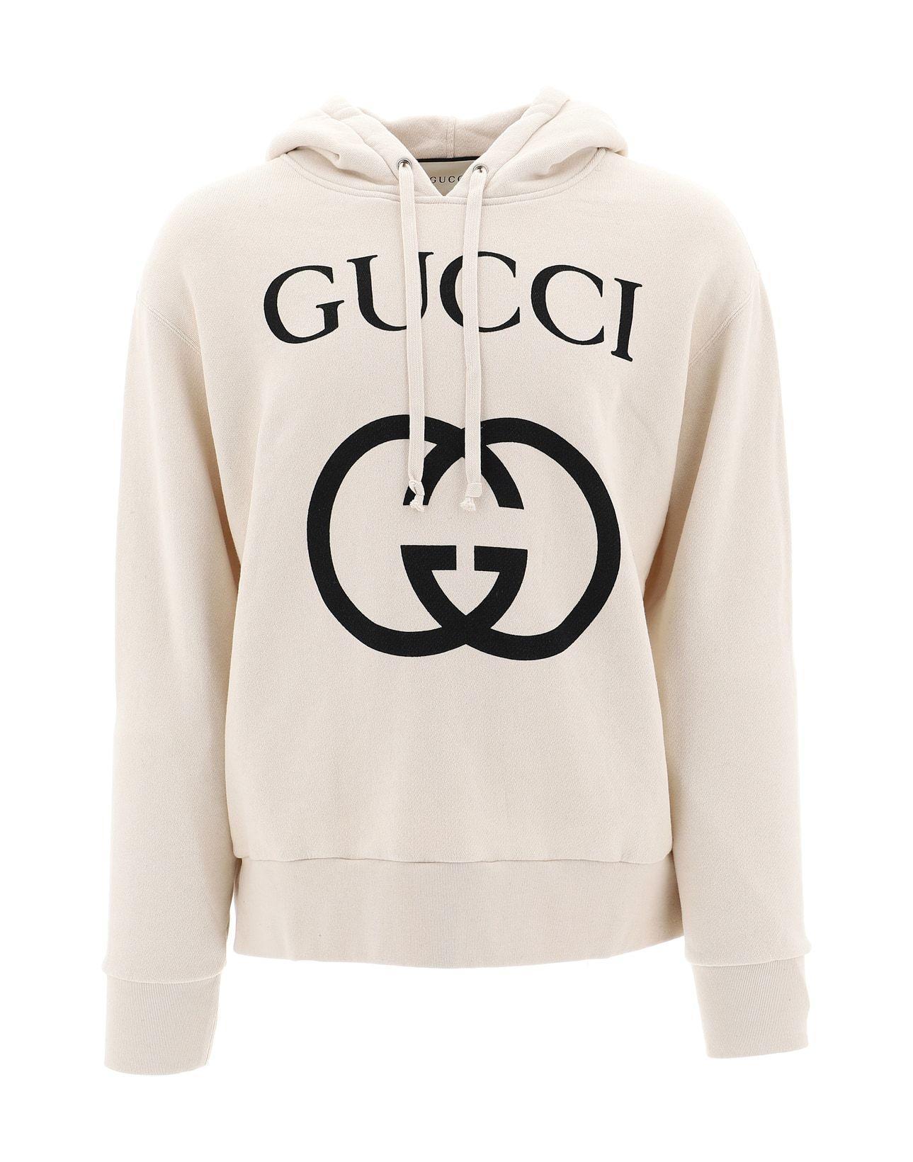 fe62686aff0 Gucci - White Logo Print Hoodie for Men - Lyst. View fullscreen