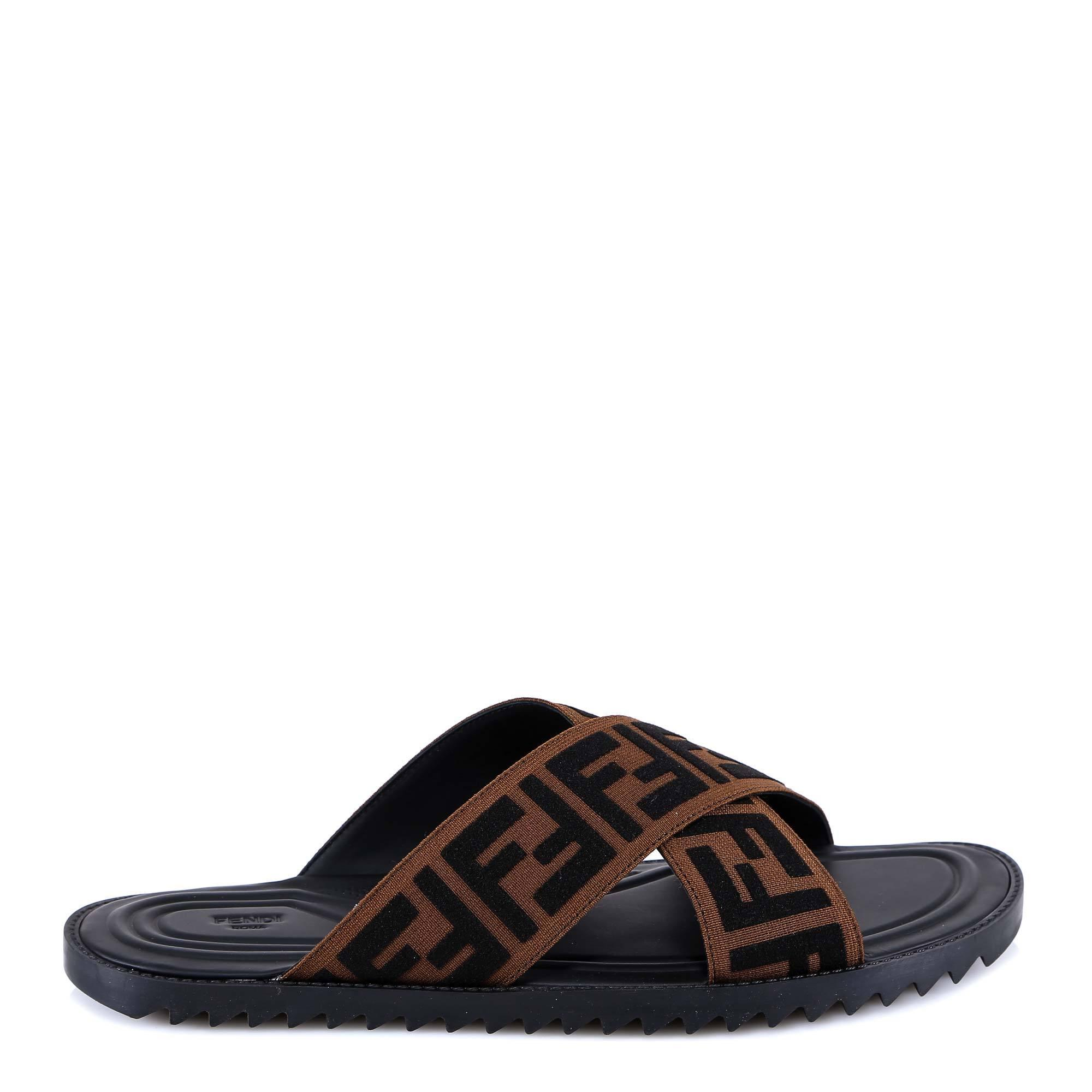3738dac5ca70 Fendi Men s Ff Band Slide Sandals in Brown for Men - Save 20% - Lyst