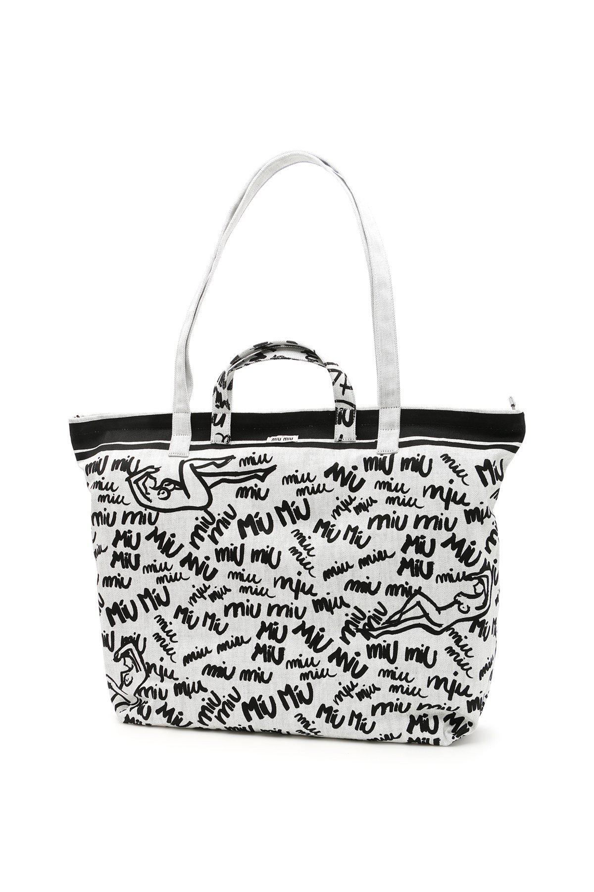 Miu Miu - White Scribbled Logo Tote Bag - Lyst. View fullscreen cd0bb004ee