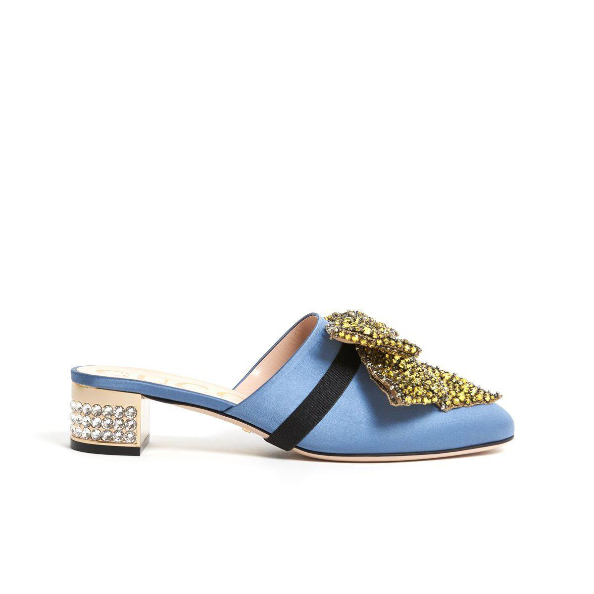 ea6053e3cf3 Lyst - Gucci Embellished Heel Mules in Blue
