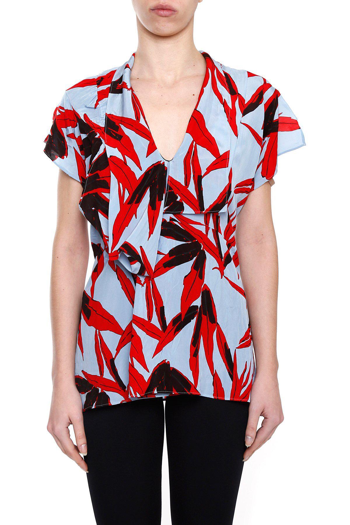 e3ea34d3f0e9fd Marni Printed Low-neck Top in Red - Lyst