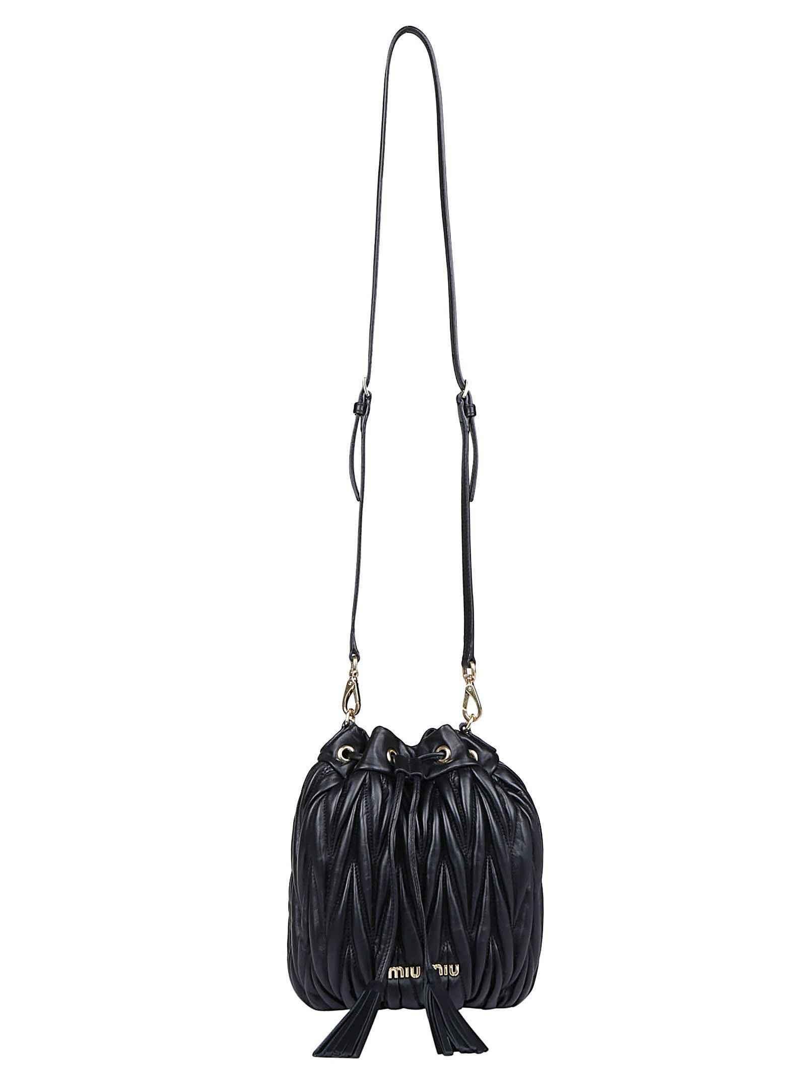 Miu Miu Bucket Tassels Tote Bag in Black - Lyst d8f53742419c8