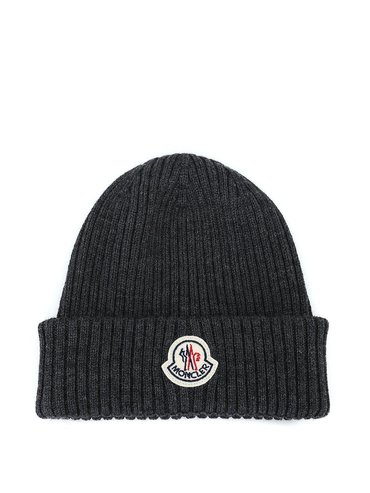 f71c9b7be68 Lyst - Moncler Logo Patch Beanie in Gray for Men