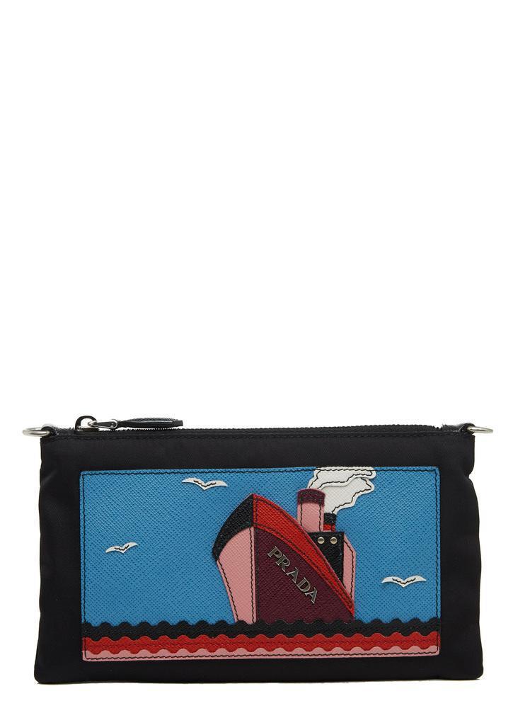 4f3acbb45675a0 Prada Saffiano Boat Clutch Bag in Blue - Lyst