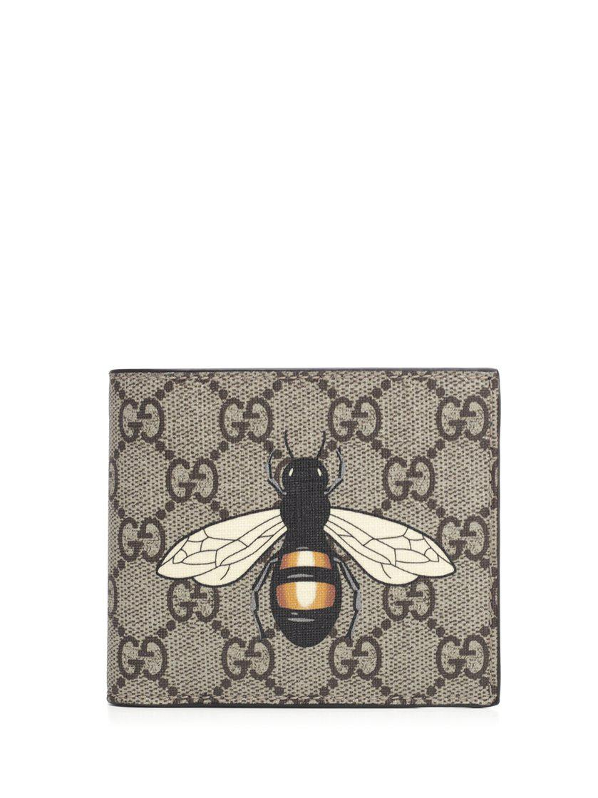 c3a1bd52520196 Gucci GG Supreme Bee Print Wallet in Natural for Men - Save 19% - Lyst