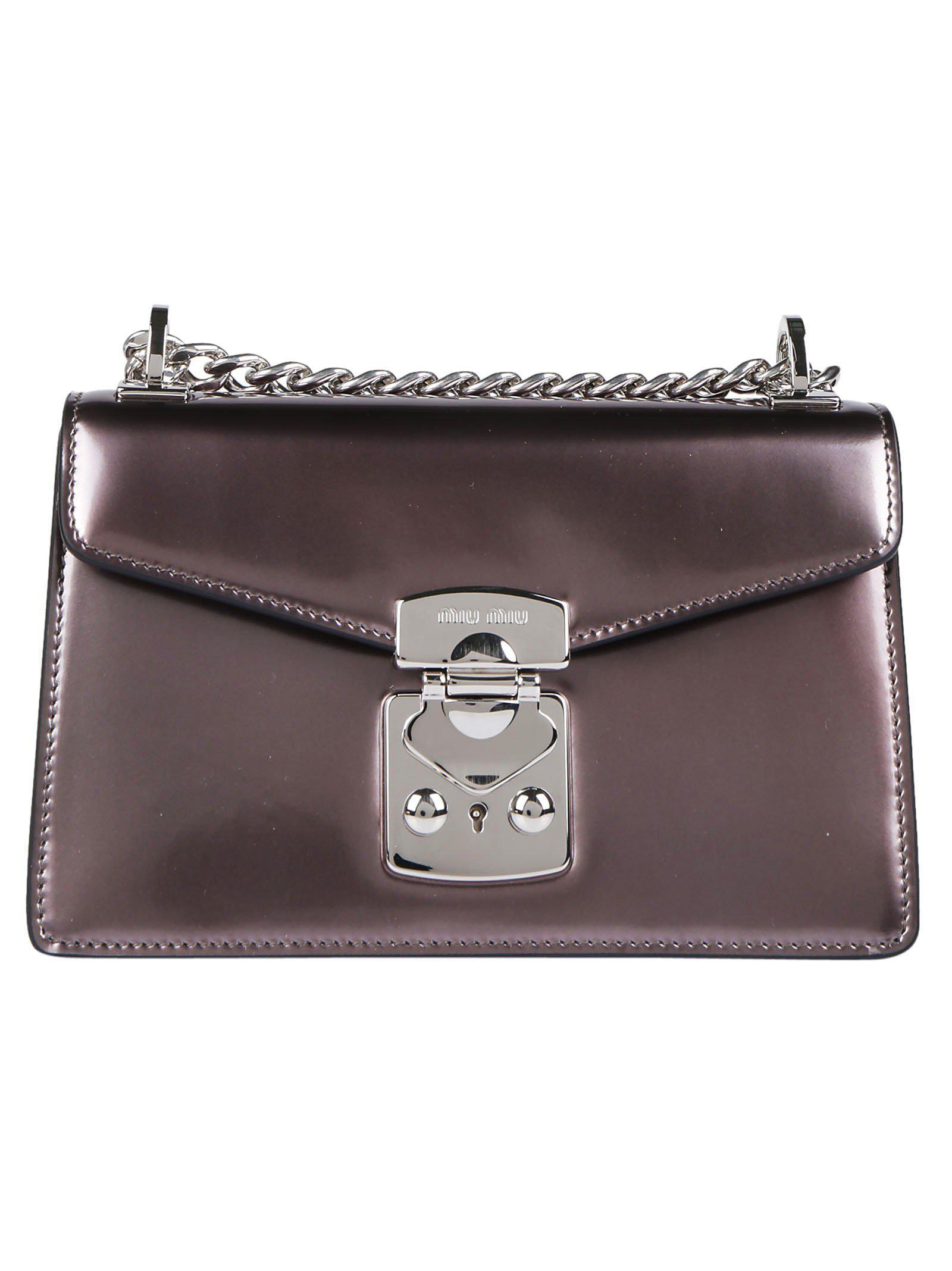 Lyst - Miu Miu Metallic Chain Strap Shoulder Bag in Gray 9b04d7bba1