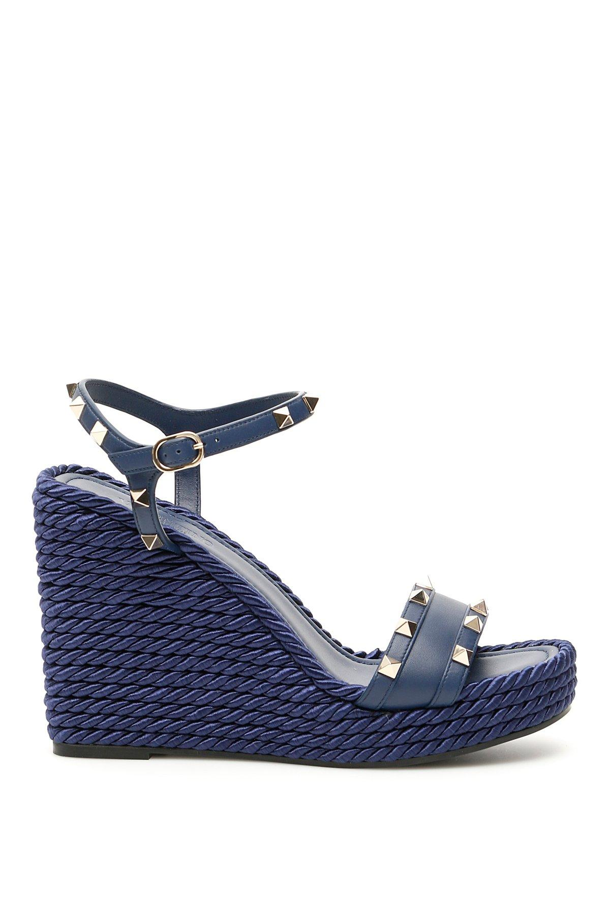 2fe280c77f41d Valentino Garavani Rockstud Wedge Sandals in Blue - Save 19% - Lyst